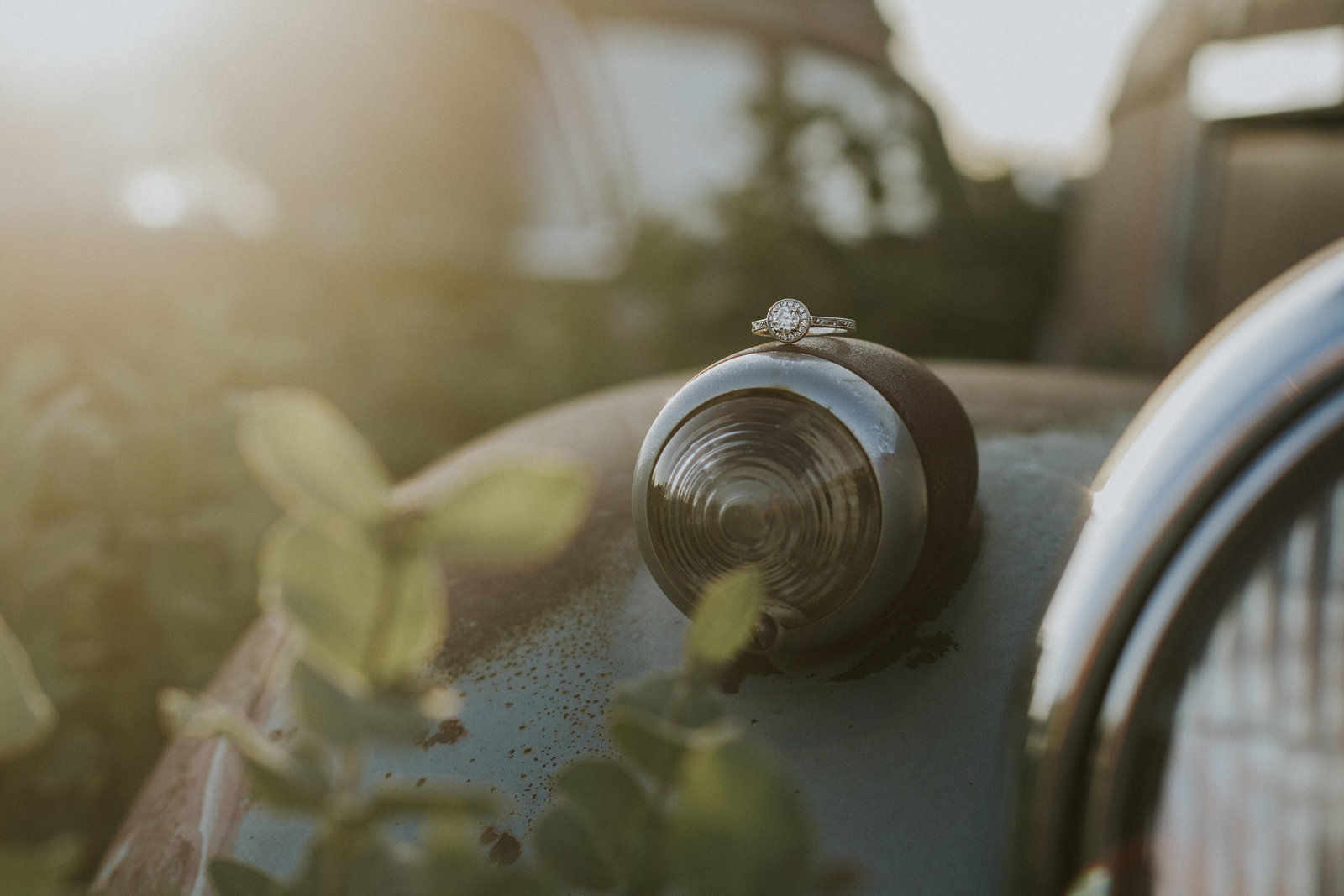 engagement | elizabeth street photography | engagement ring | old cars | LaMoure, ND