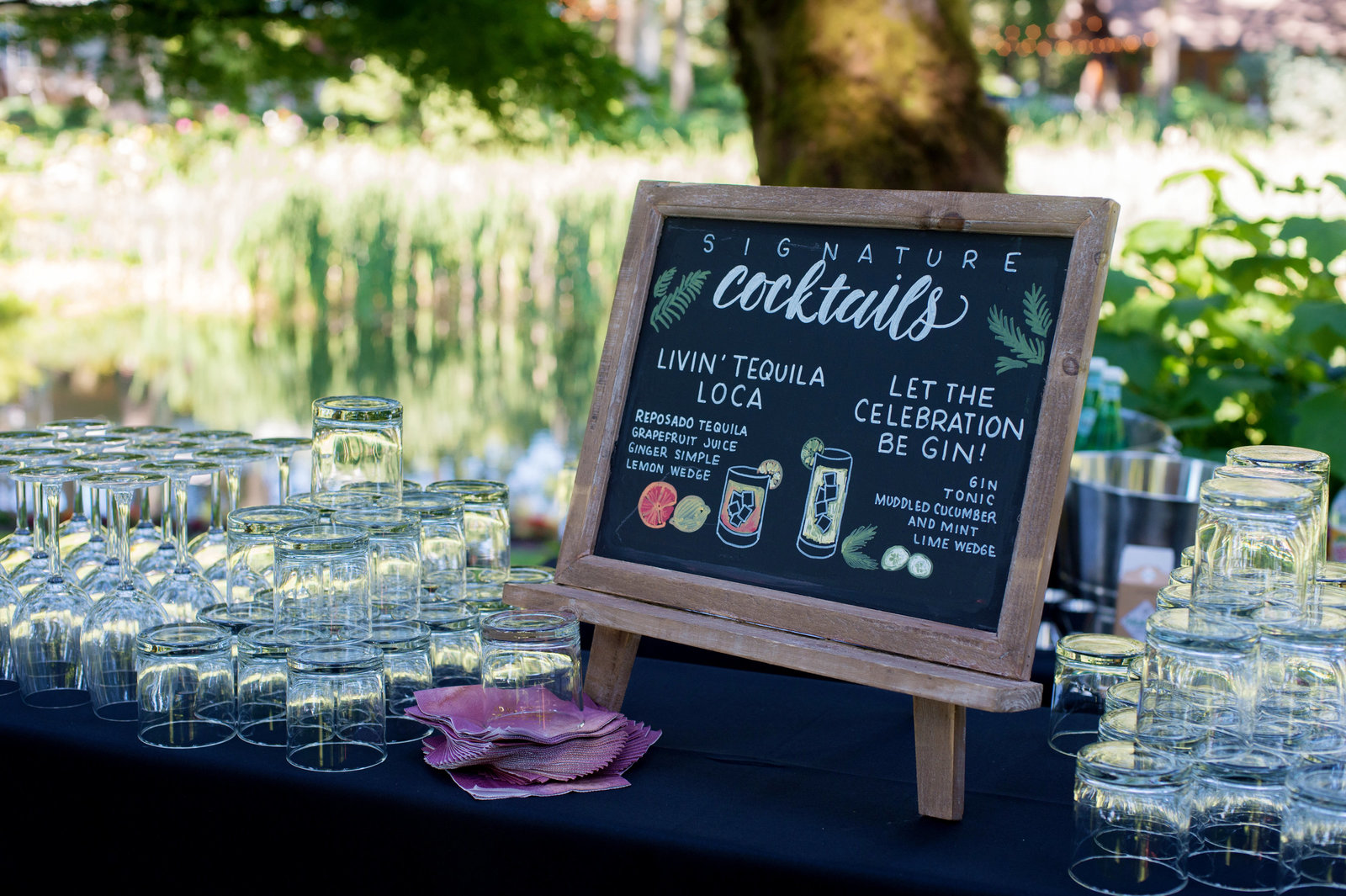 wedding day cocktail menu chalkboard sign