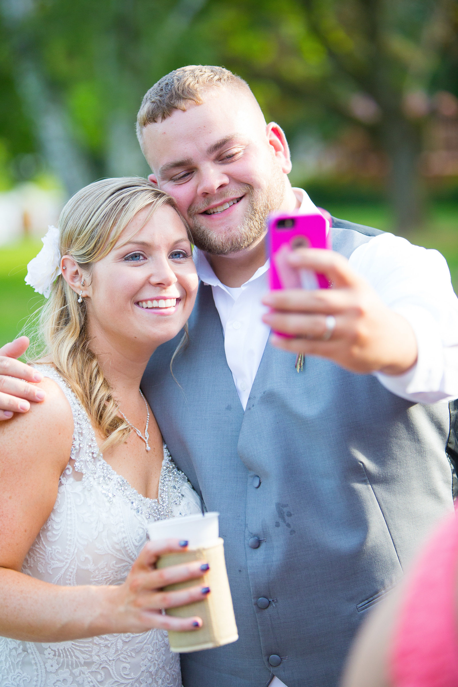 wedding photography bride and groomsen selfie