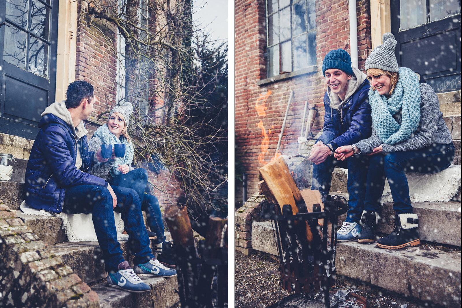 Een vuurkorf, marshmallows, warme chocolade melk en veel blauw. De ingredienten voor een winterse loveshoot. En de sneeuw is gephotoshopt. Copyright Nanda Zee-Fritse | FOTOZEE