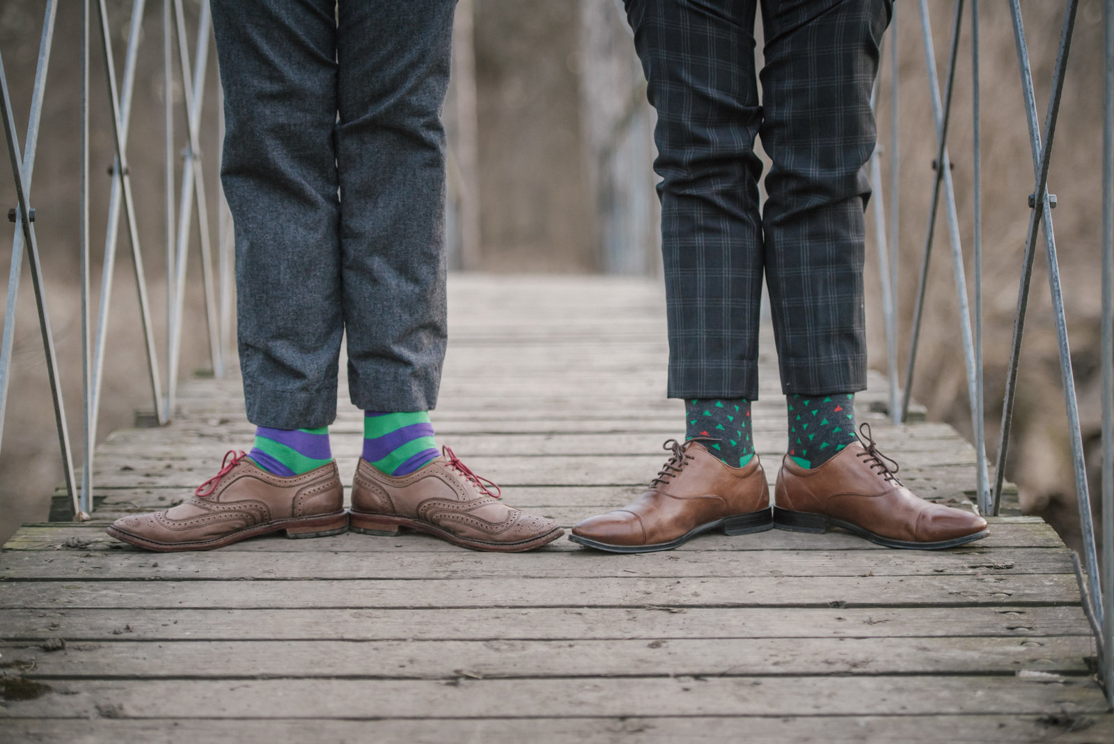 photo of couple's cool shoes and socks