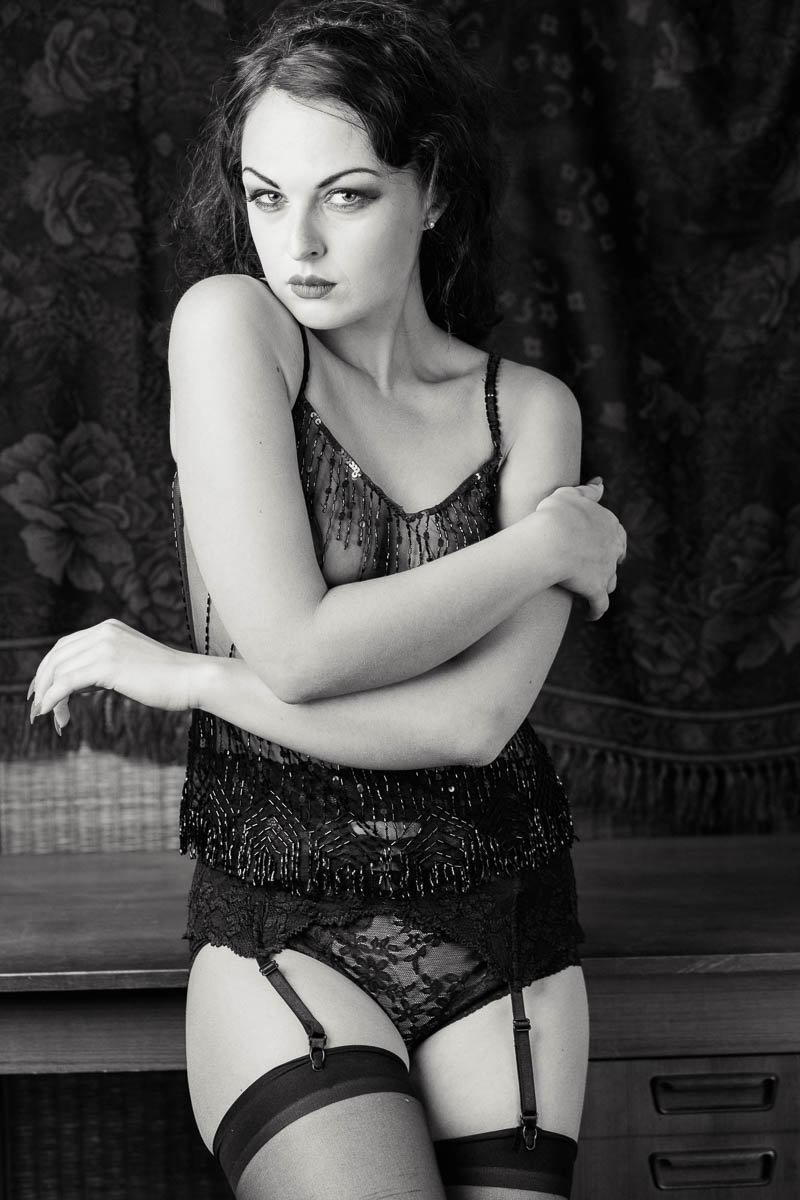 Ms A wears a 1920s style sheer lingerie-outfit, Boudoir Photography, Charleston, SC