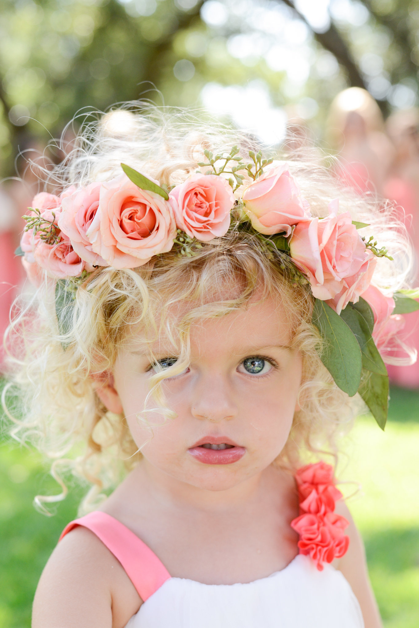Flower Girl with pink rose flower crown