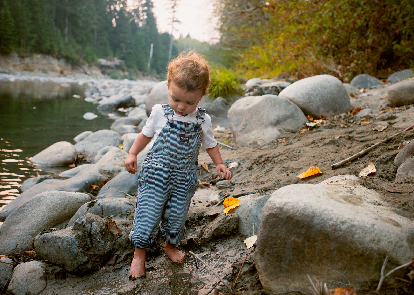 photo of a little boy in overalls by a creek in the Pacific Northwest