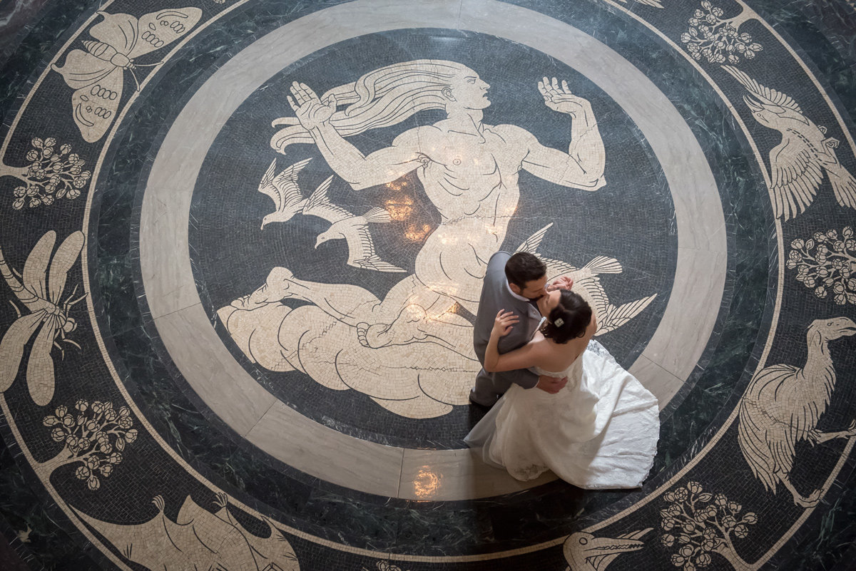 bride and groom dance at nebraska state capitol in lincoln
