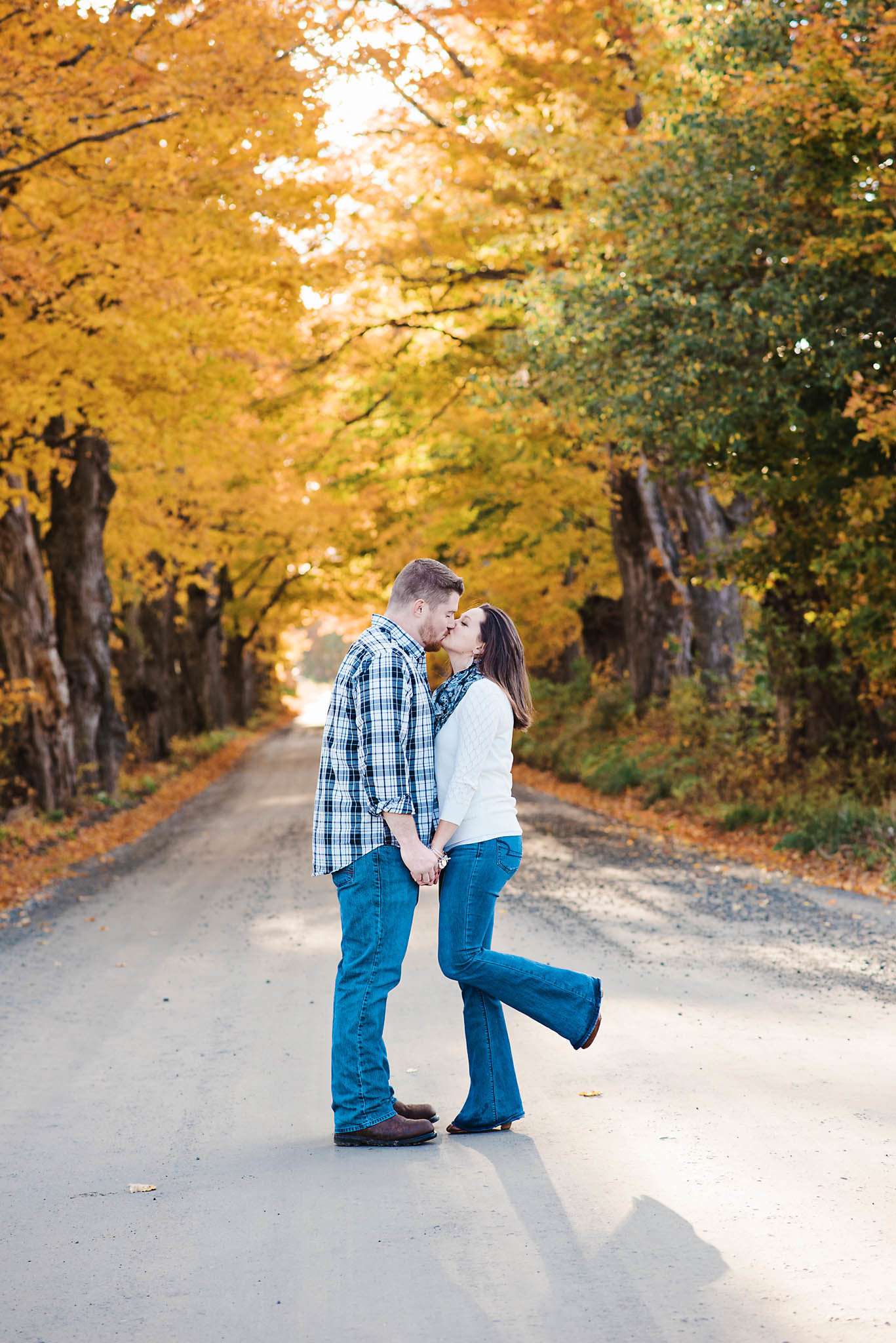 dirt road engagement session, Vermont fall engagement session