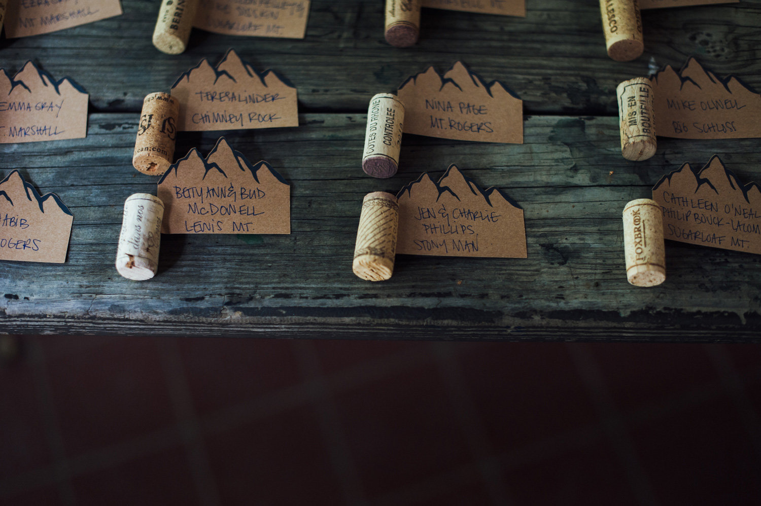Mountain theme rustic camp wedding details