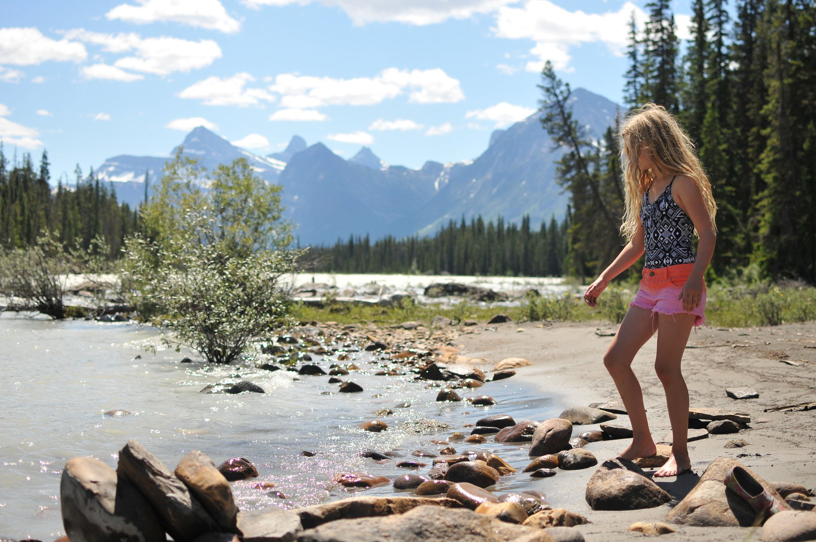 Travel Alberta Jasper Mountains Girl by Stream by Melissa E Earle Mee