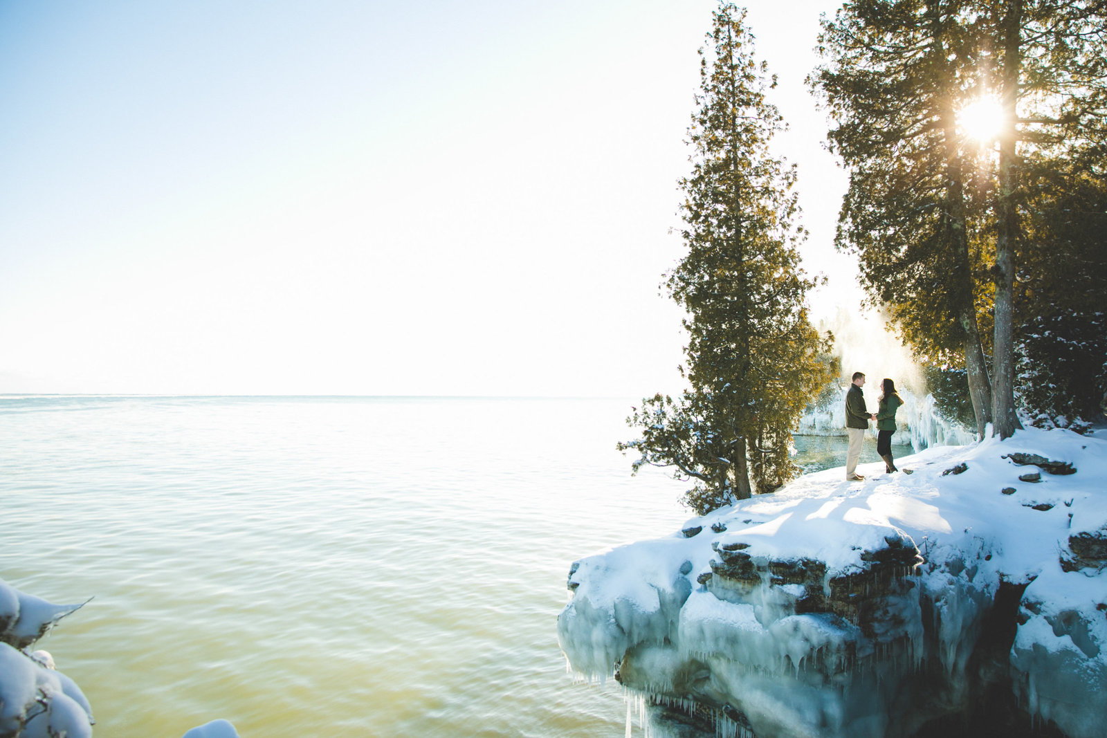Taylor & Aniston's Cave Point Door County Winter Engagement Photos by Amenson Studio-0017