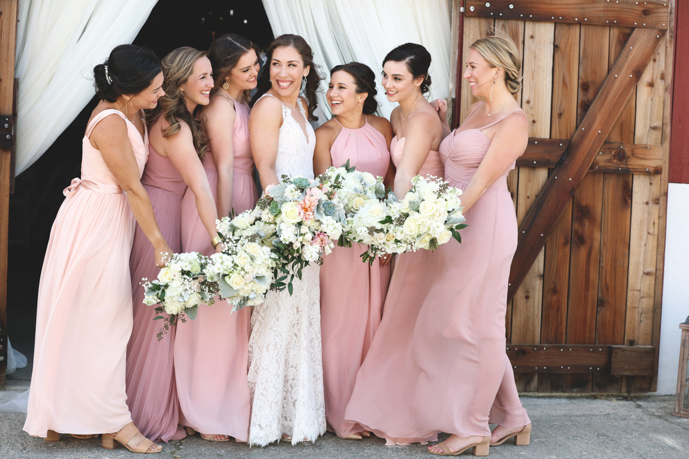 Bridal party at beautiful rustic wedding in northern california