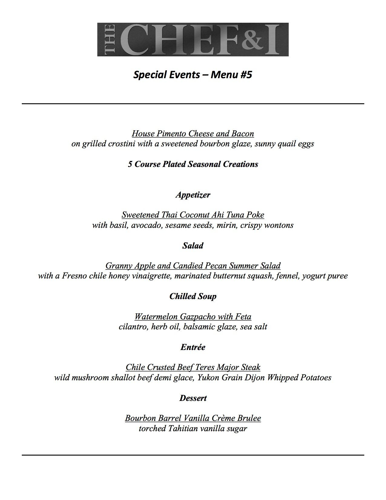 Special Events Menu 5