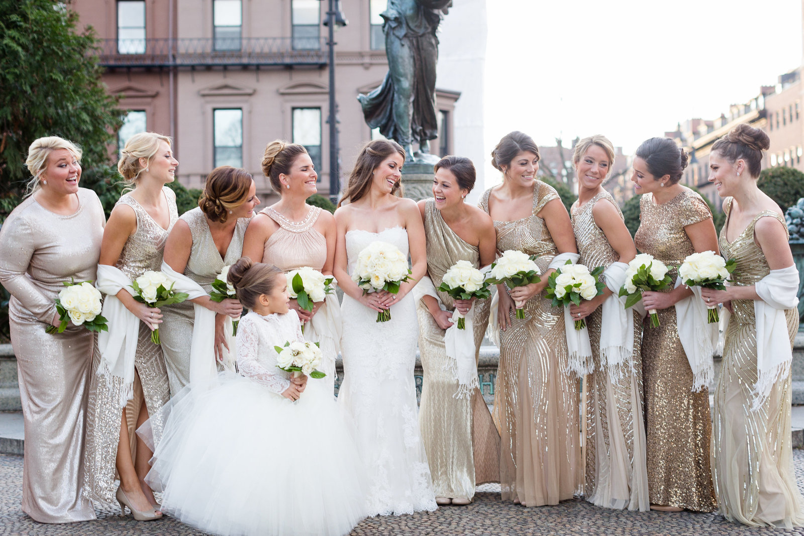 Gold Bridesmaids Dresses Winter Wedding
