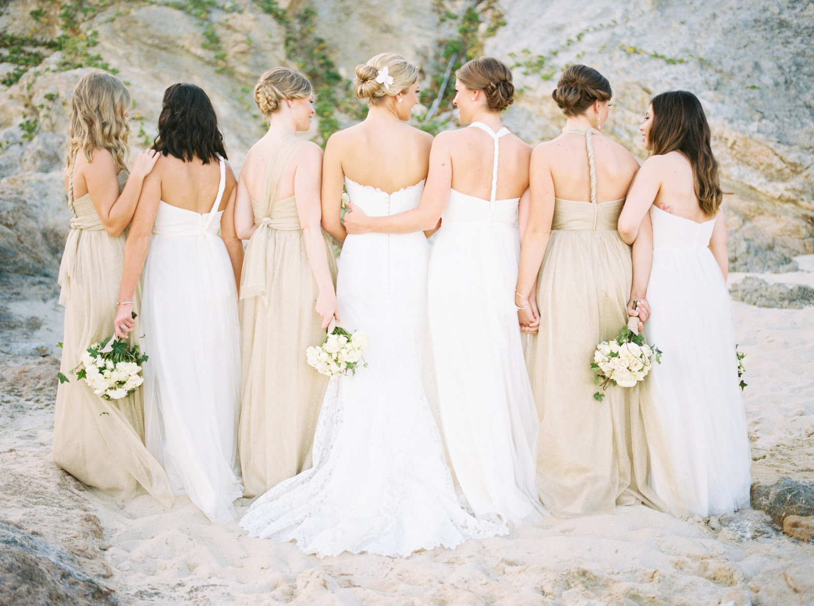Cabo Mexico Destination Wedding, Bridesmaids on beach,  Fine Art Film