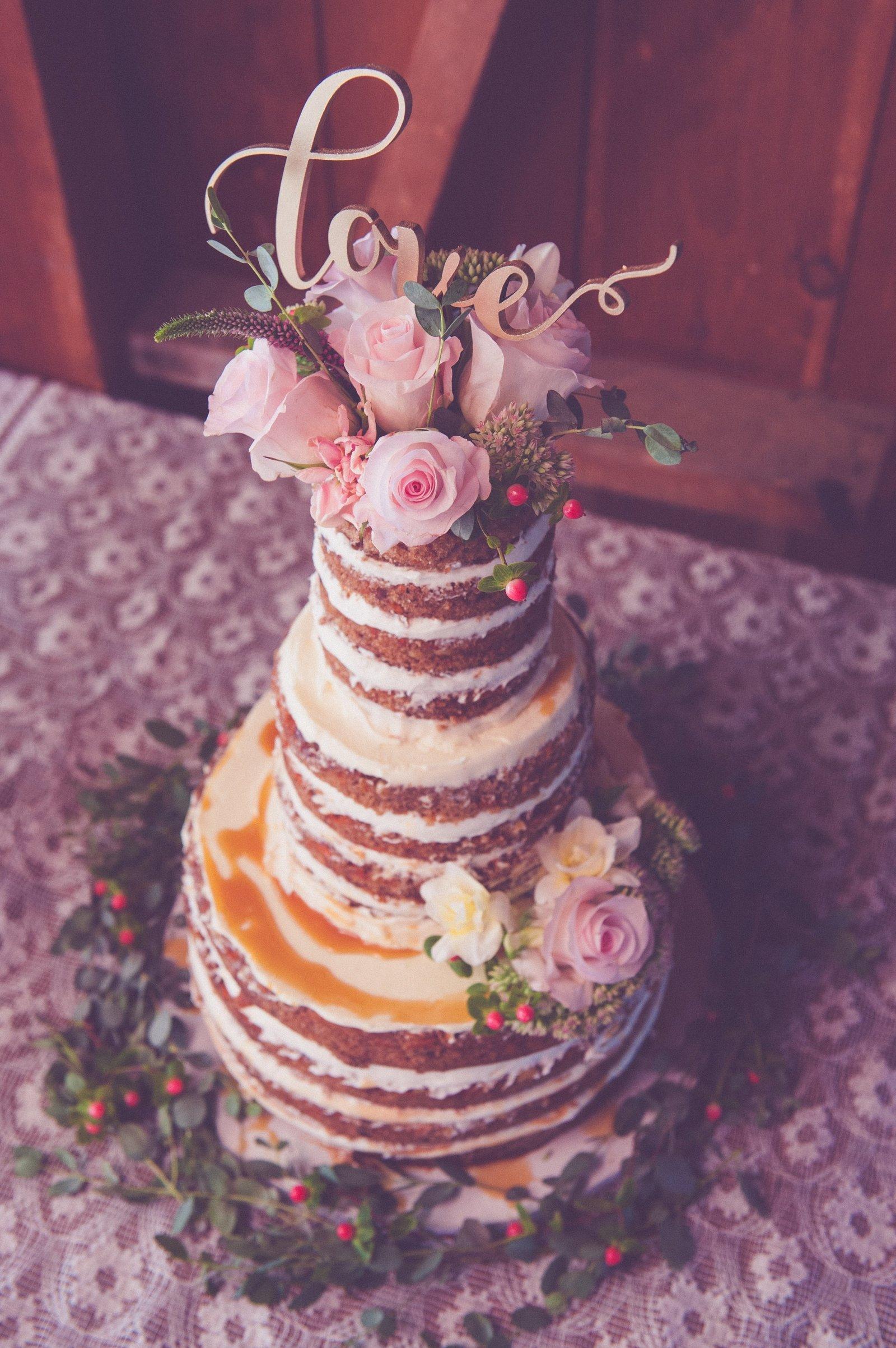 naked wedding cake, wedding cake