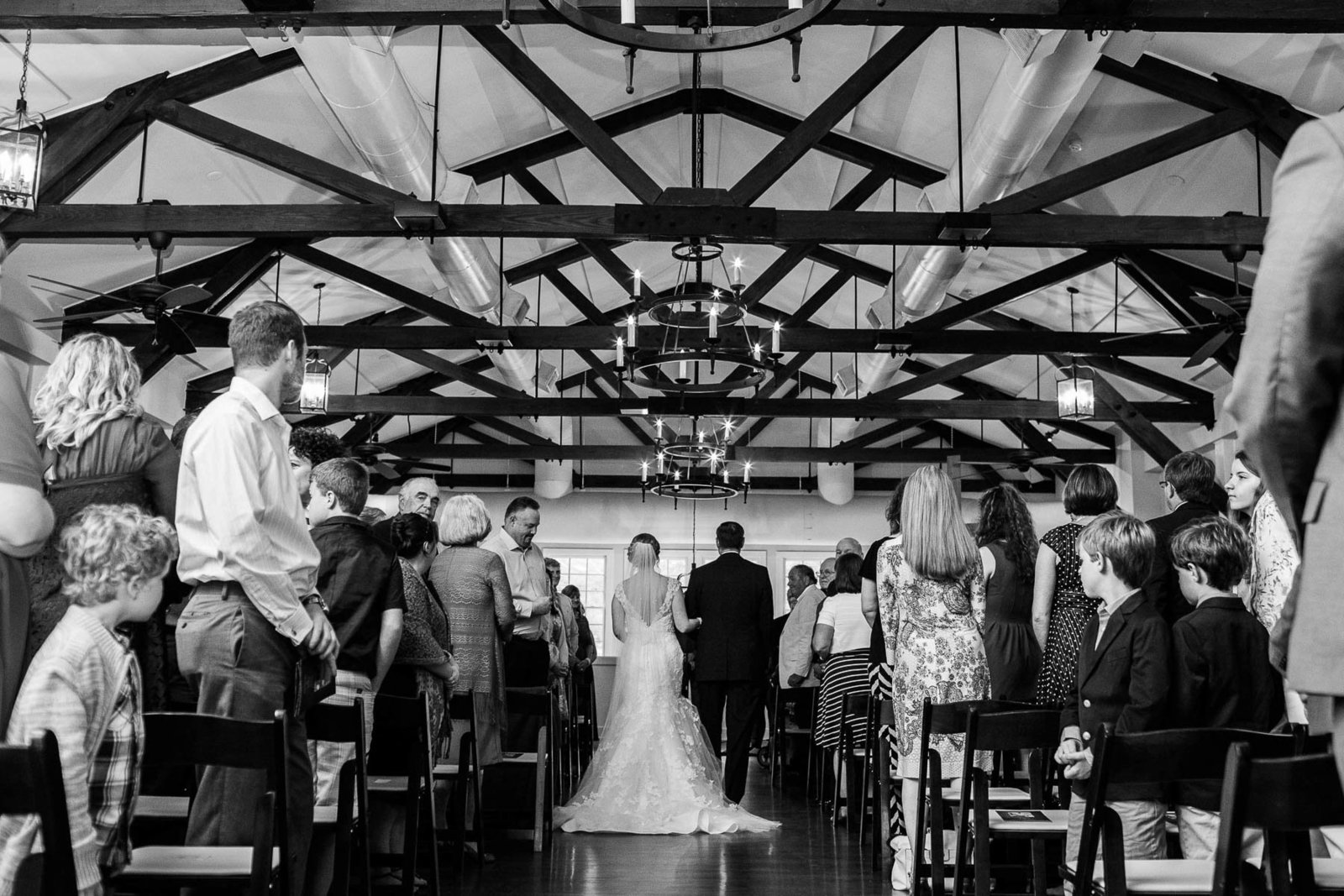 Father walks bride up the aisle, Alhambra Hall, Charleston, South Carolina