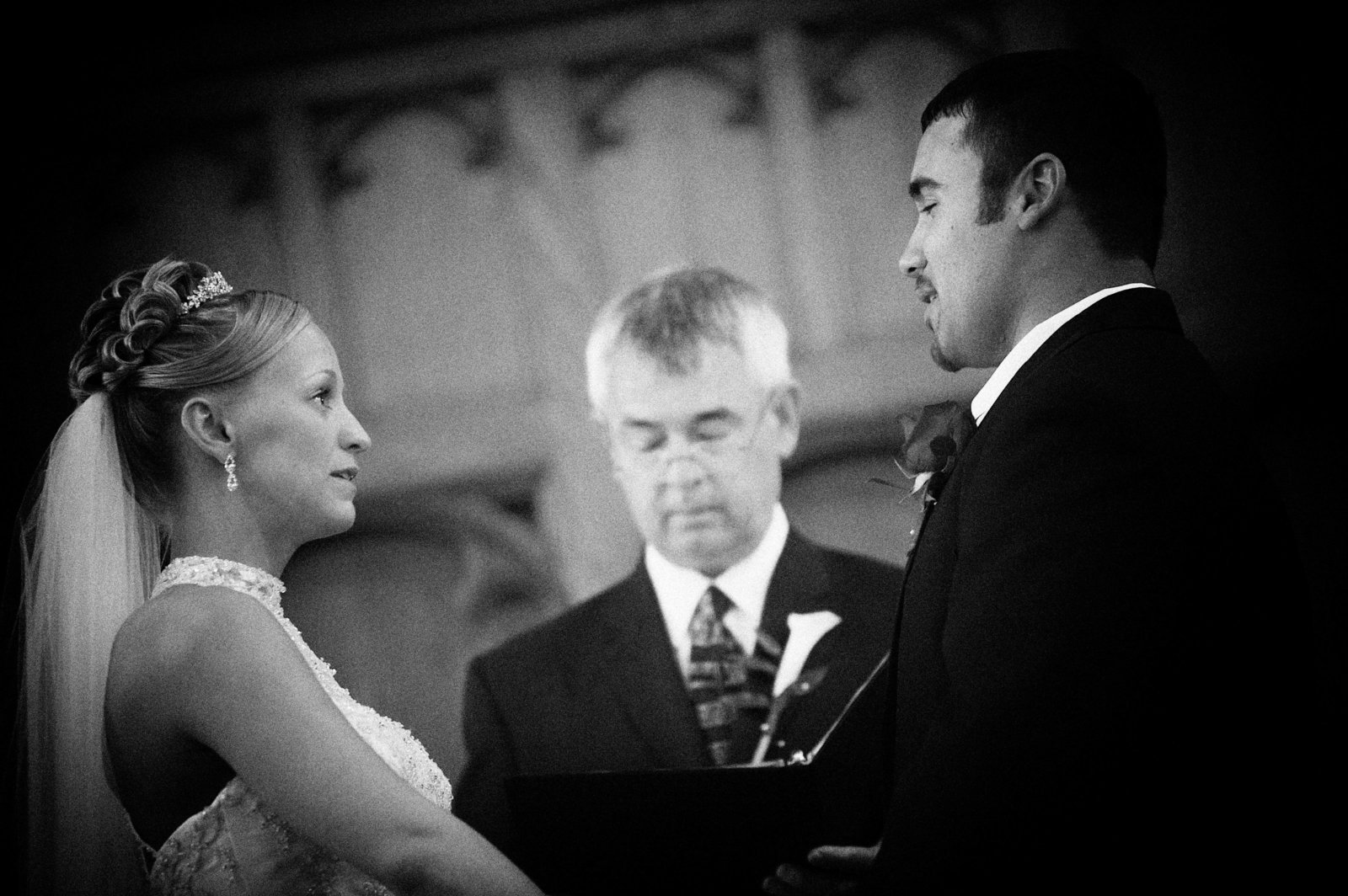 Minneapolis Minnesota ceremony wedding shot black and white