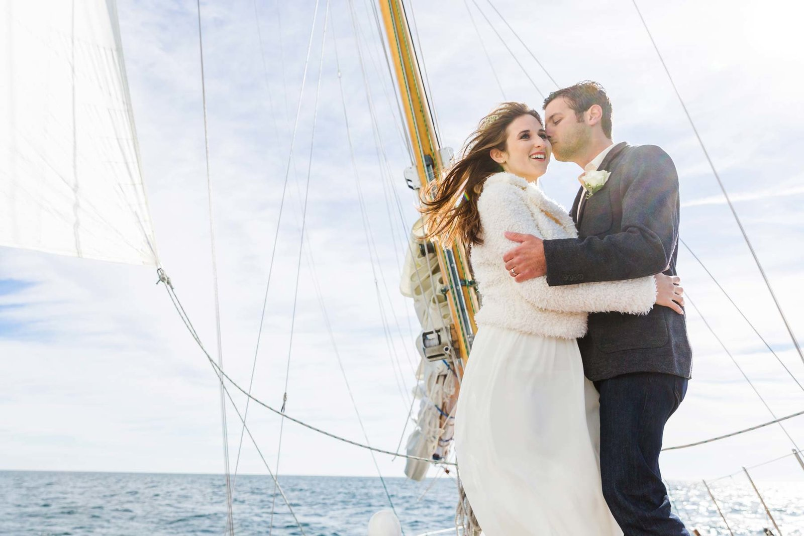 Ogunquit Maine elopement Photographers on Silver Linings Sailboat on the water Elope Bride Groom wind I am Sarah V Photography