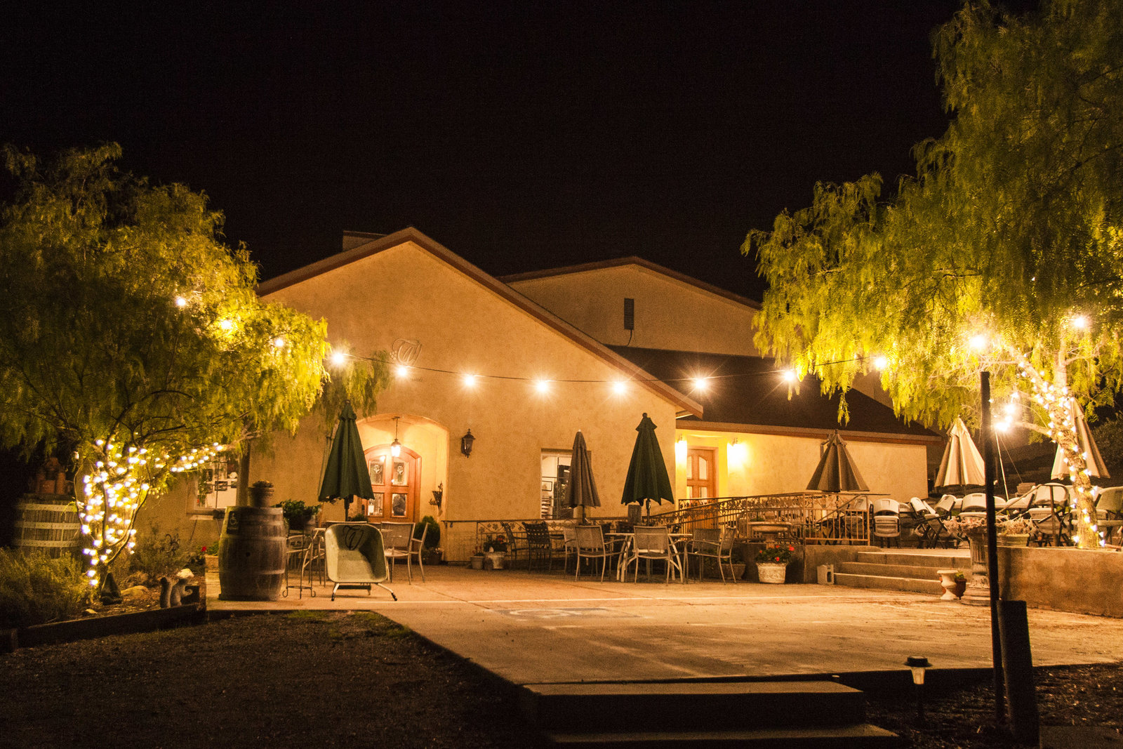 winery, nighttime shot, exterior