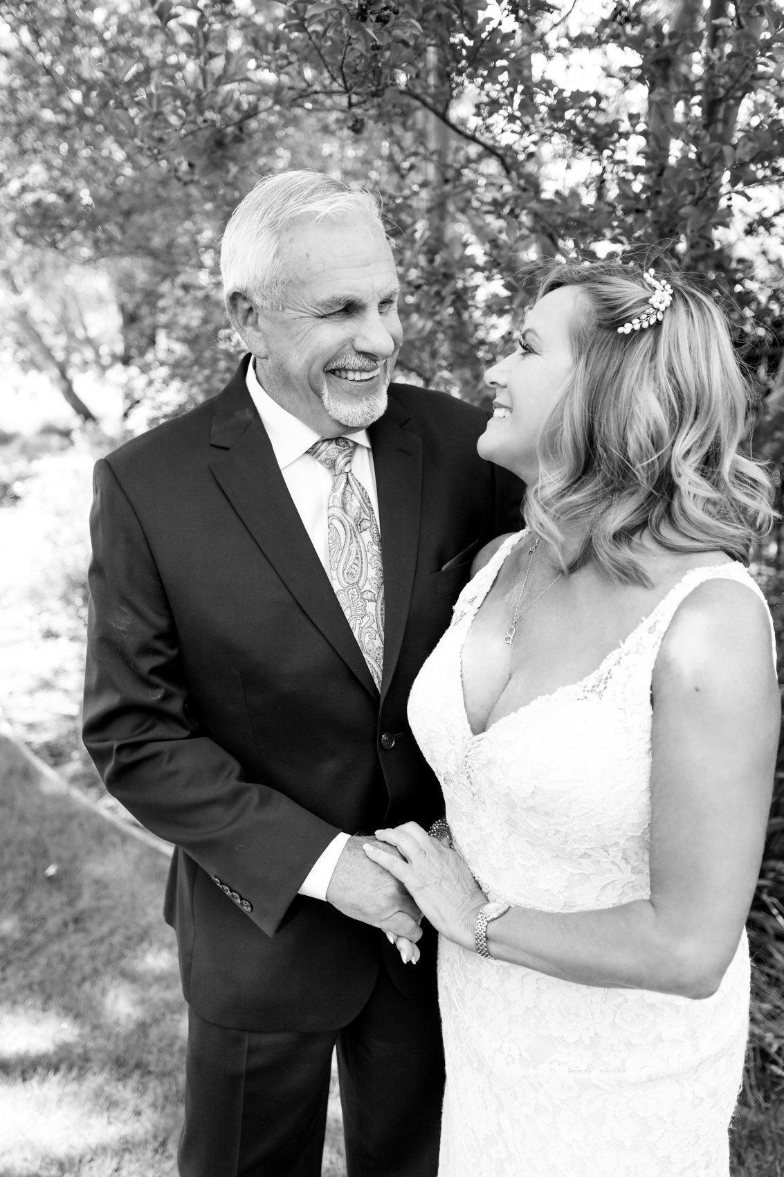 Northern california country club, candid portrait of bride and groom