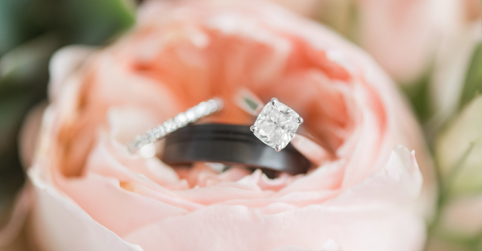 weding rings in bridal bouquet photo by norfolk virginia wedding photographer photo