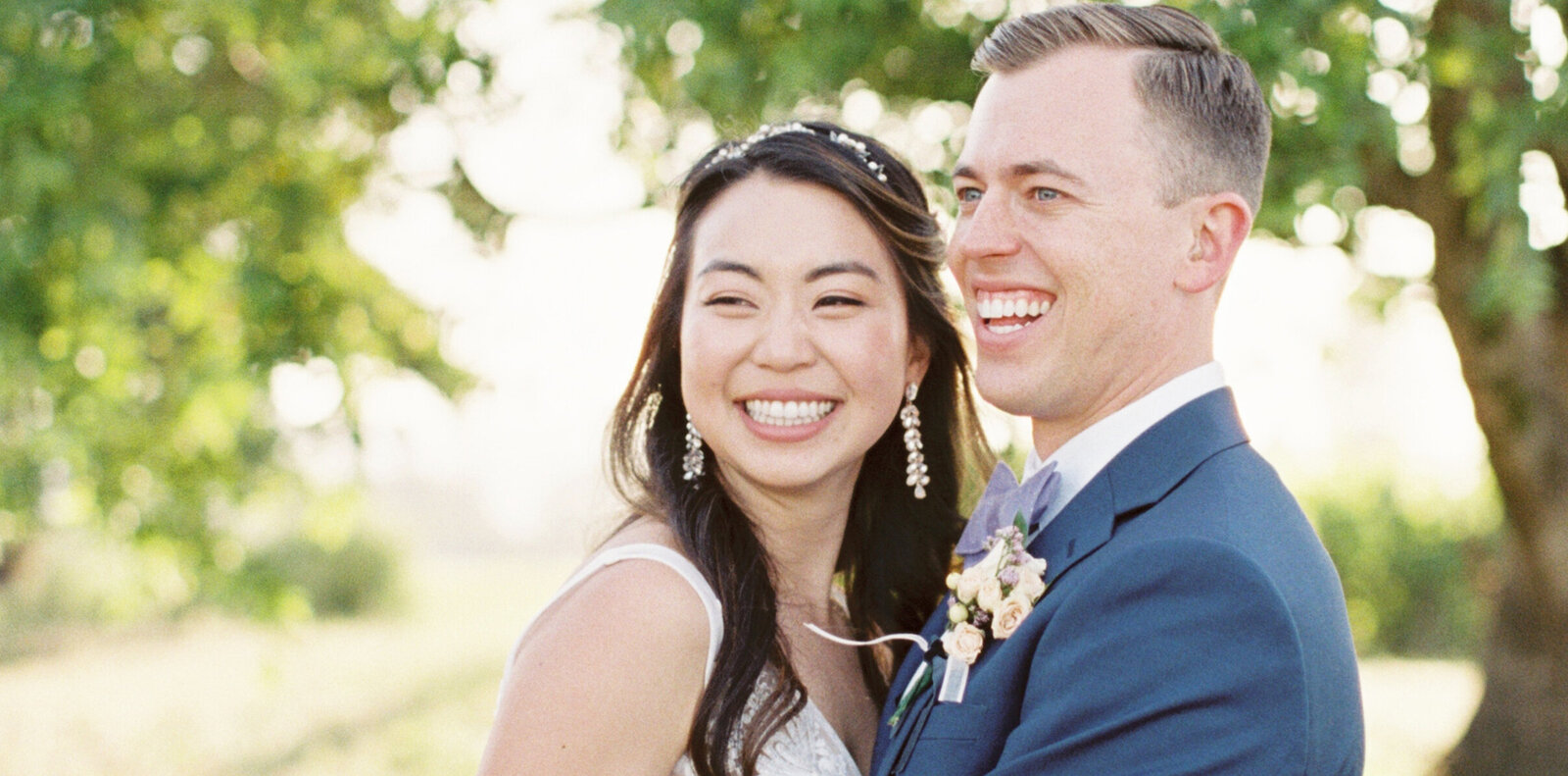 happy bride and groom at california vineyard wedding