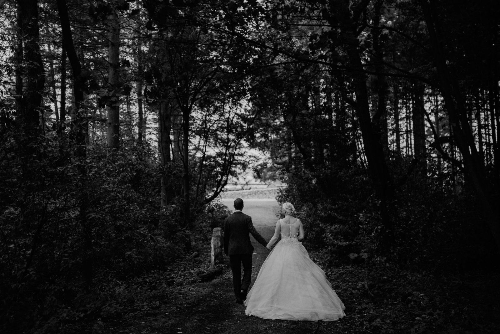 Bride and groom in woodland at Lineham Farm Donkey Sanctuary, Leeds. Yorkshire fine art wedding photographer