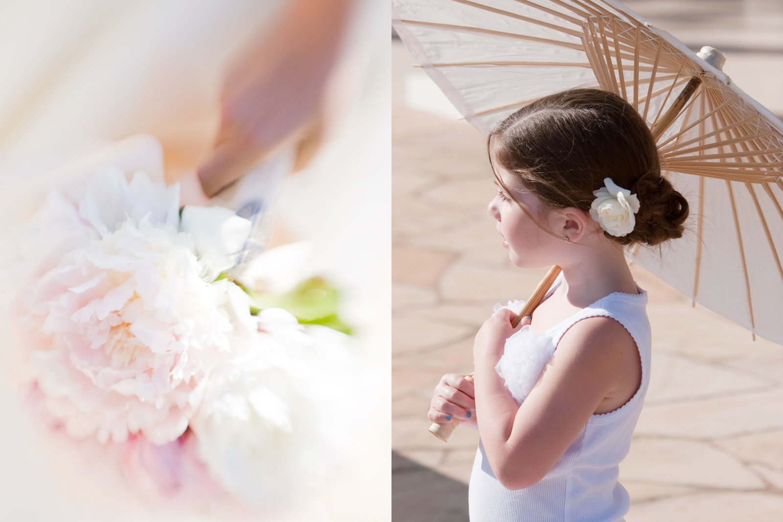 Wedding flower details, peonies, flower girl, Jennifer Baciocco Photography