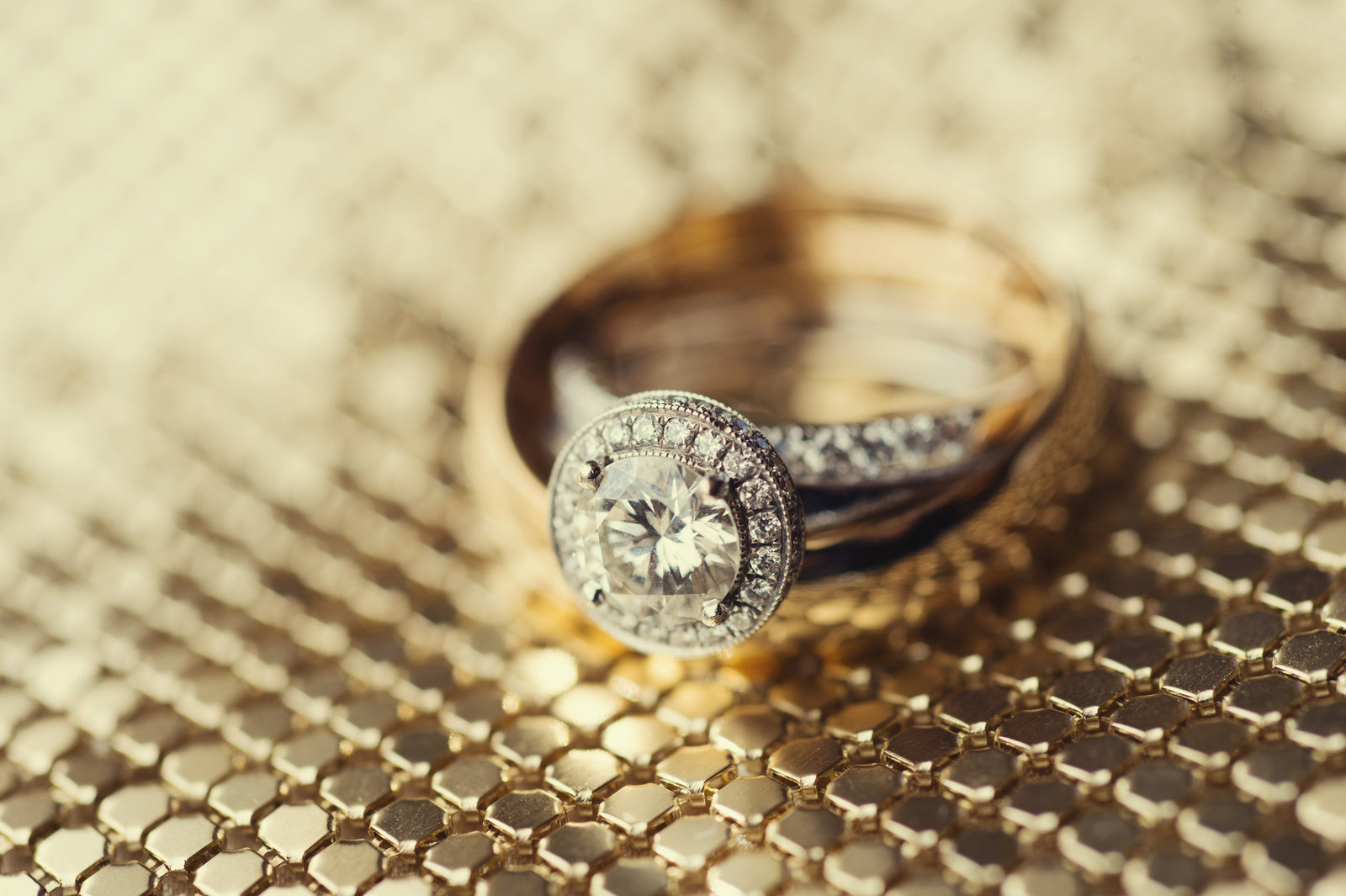 pretty diamond wedding ring on gold