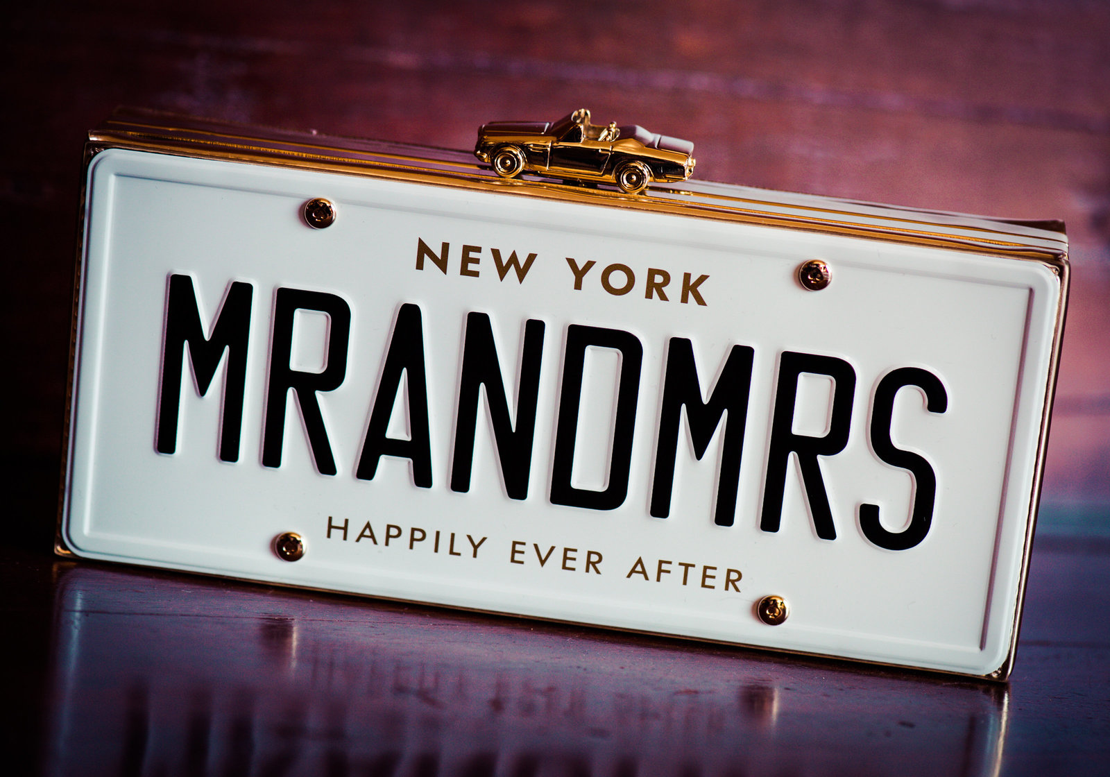 Mr and Mrs license plate wedding purse