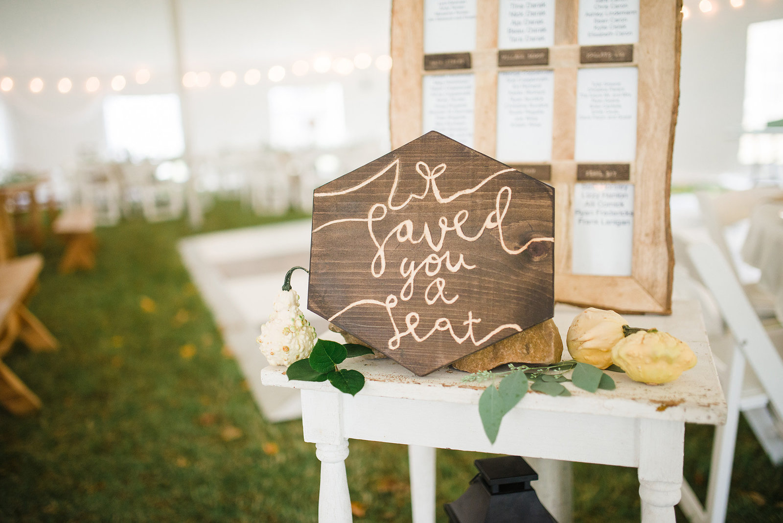 hand lettered rustic sign, Vermont tent wedding