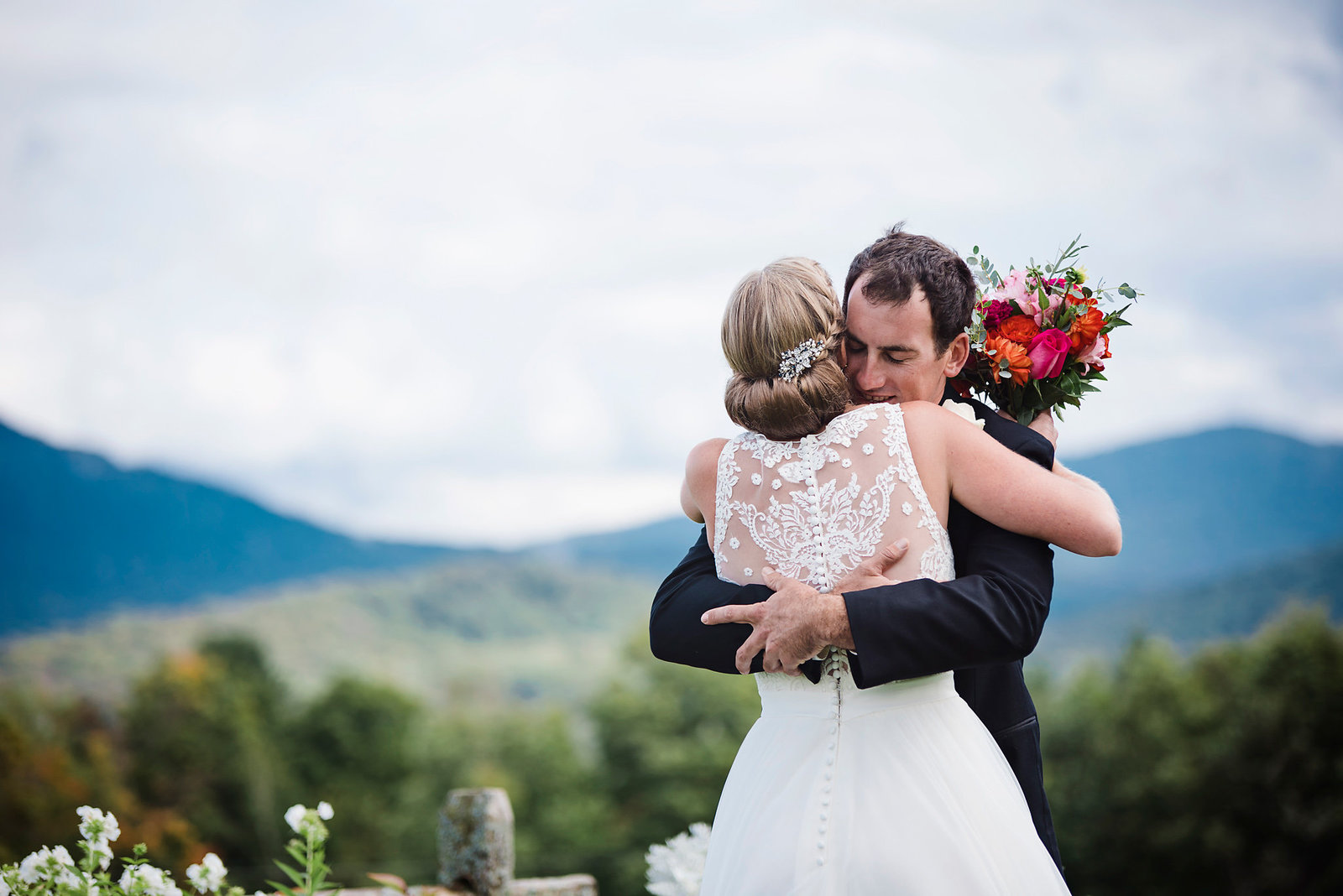 first look bride and groom, vibrant color palette fall wedding, Mountain Top Inn wedding