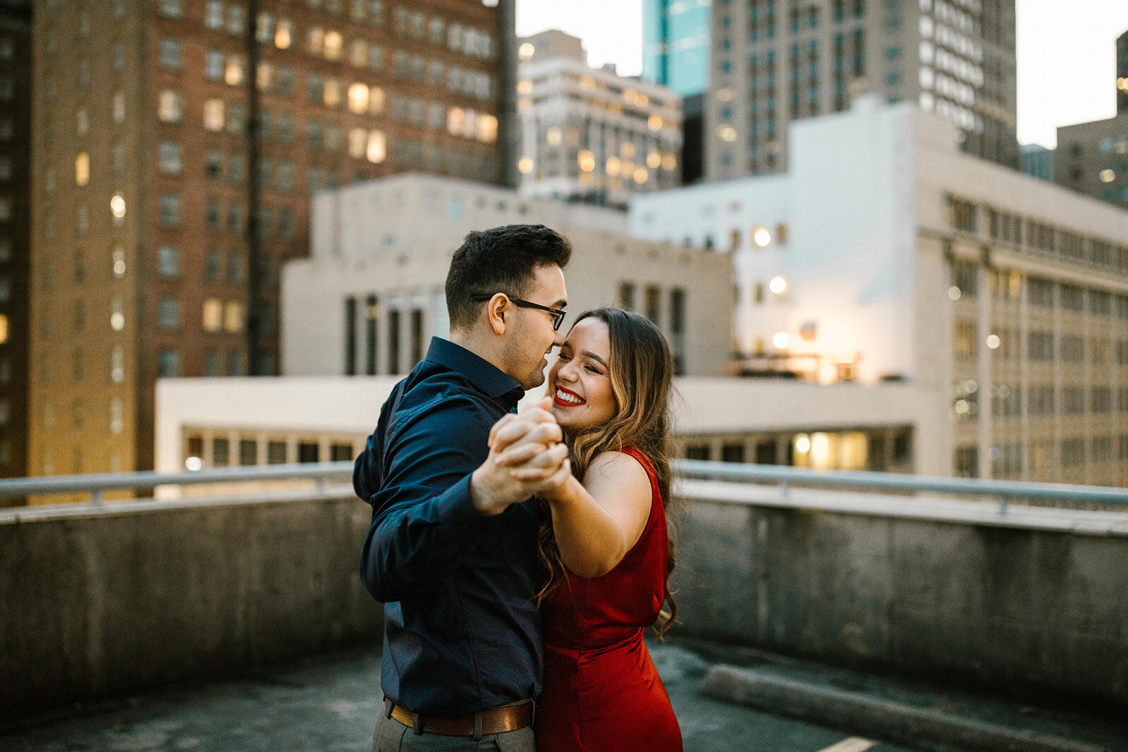 Kori+Tommy_Memorial Park and Downtown Houston Engagements_48