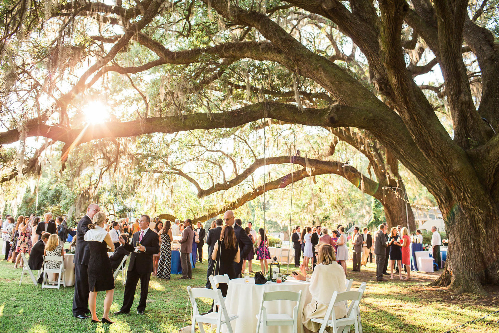 Guests mingle for cocktail hour under an oak tree, Oakland Plantation, Mt Pleasant, South Carolina