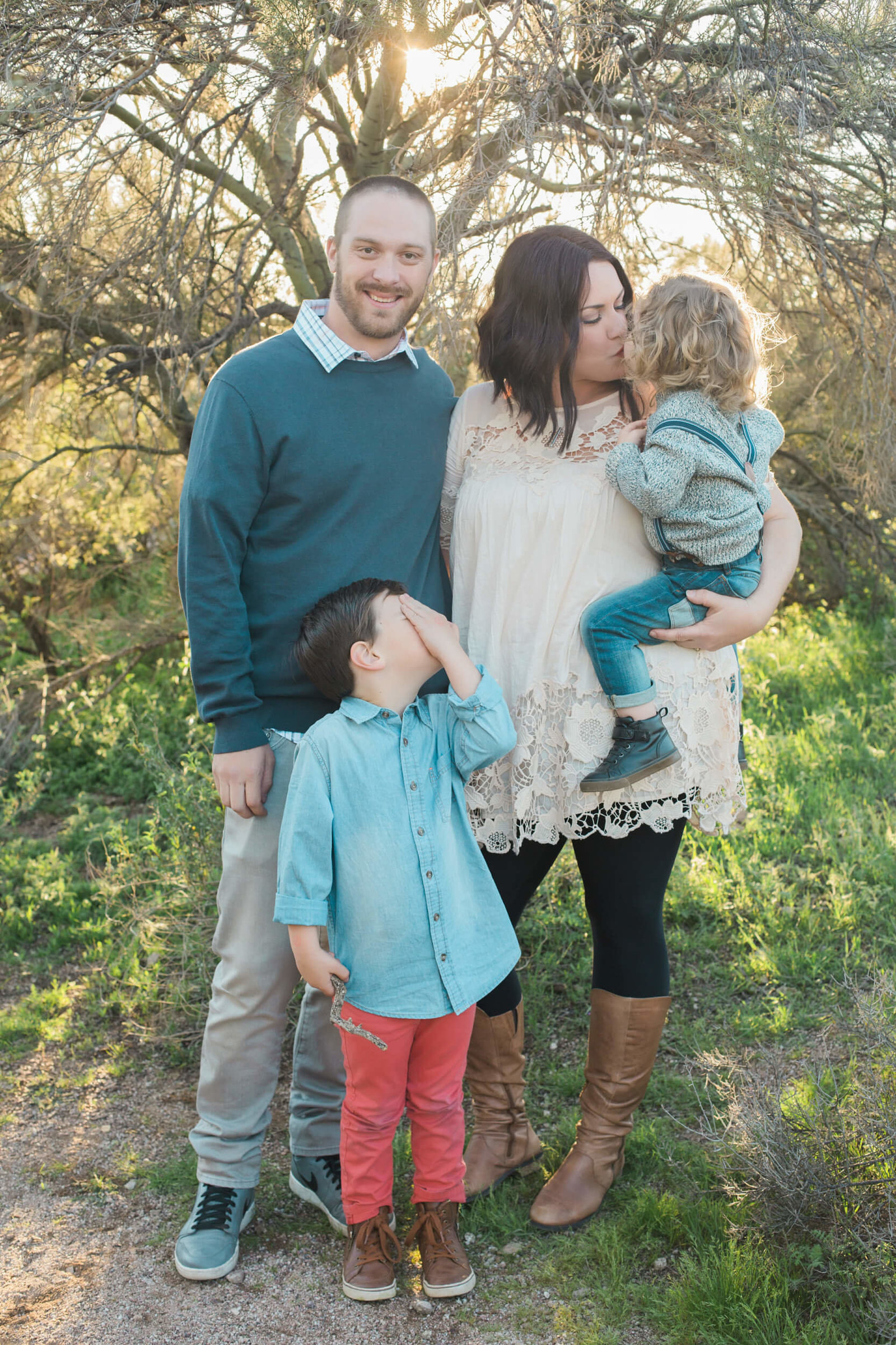 cute family of four outdoor photoshoot