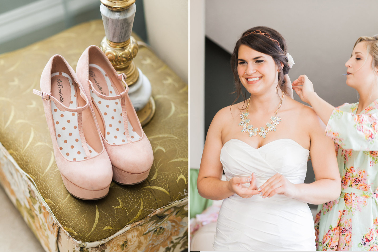 Oregon bride getting ready with pink wedding shoes | Susie Moreno Photography