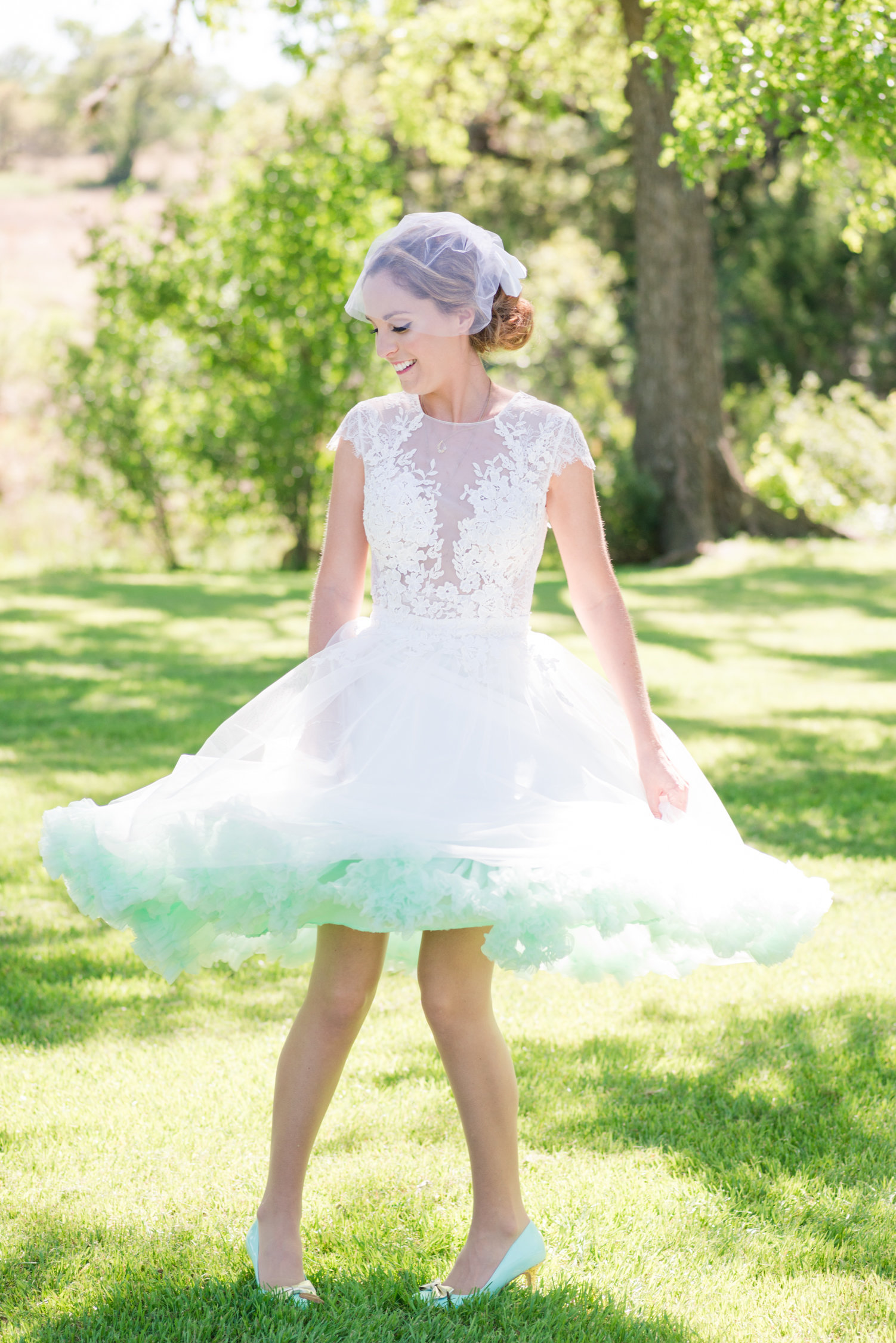 Pecan Springs Ranch Bridal Portrait: Vintage Wedding Dress with Mint Petticoat