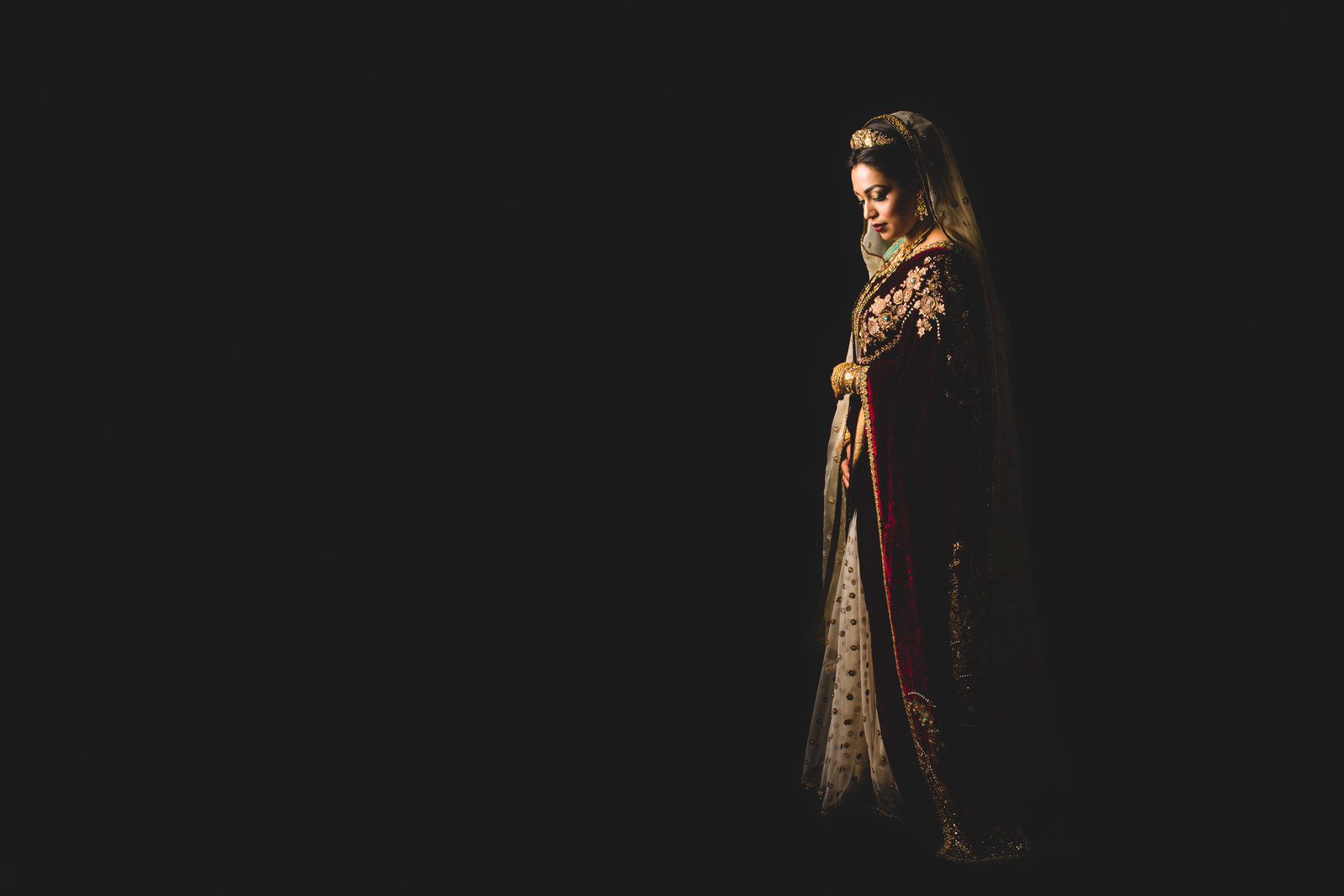 asian wedding photographer red cape velvet gold