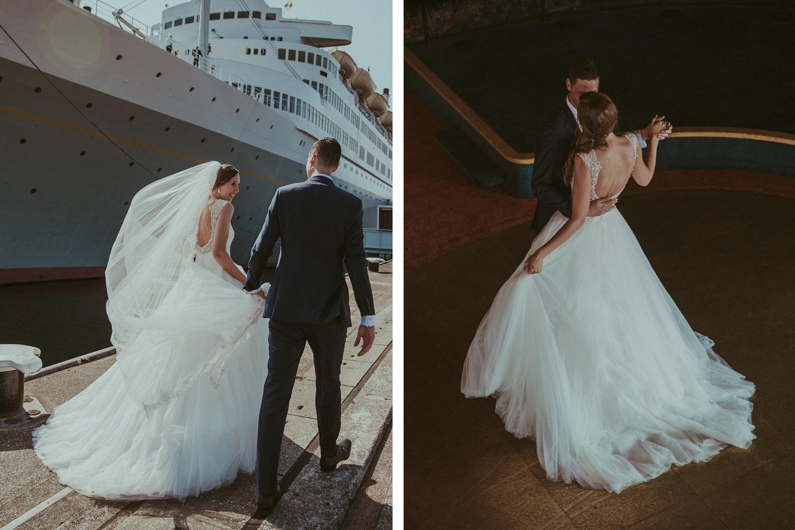 Bruidspaar voor het SS Rotterdam met de wind in de sluier. En dansend bruidspaar in The Grand Ballroom.  Copyright Nanda Zee-Fritse | FOTOZEE