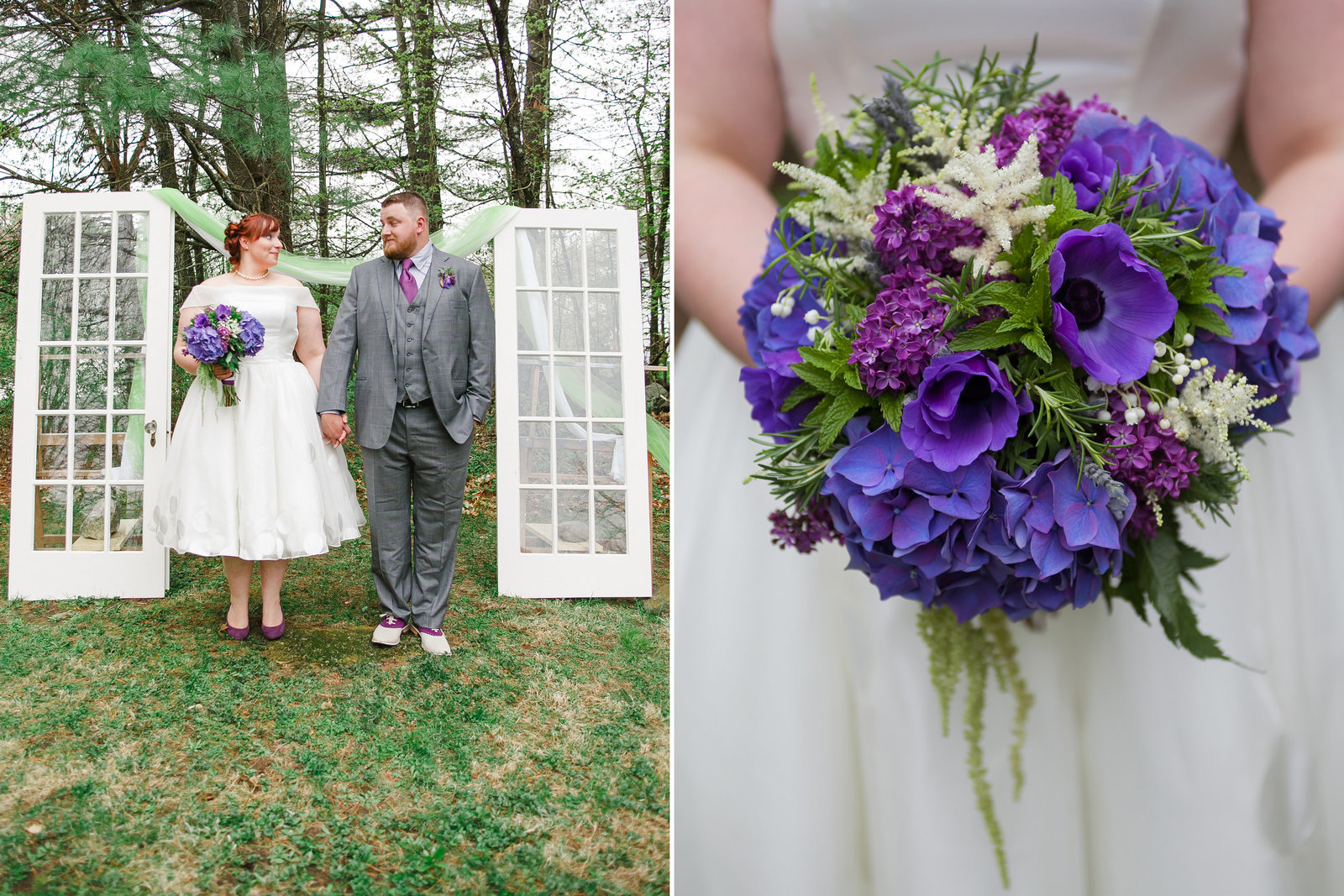 Unique outdoor  portrait of Oregon  bride and groom  in DYI altar with old windows with purple bouquet and grey tux | Susie Moreno Photography