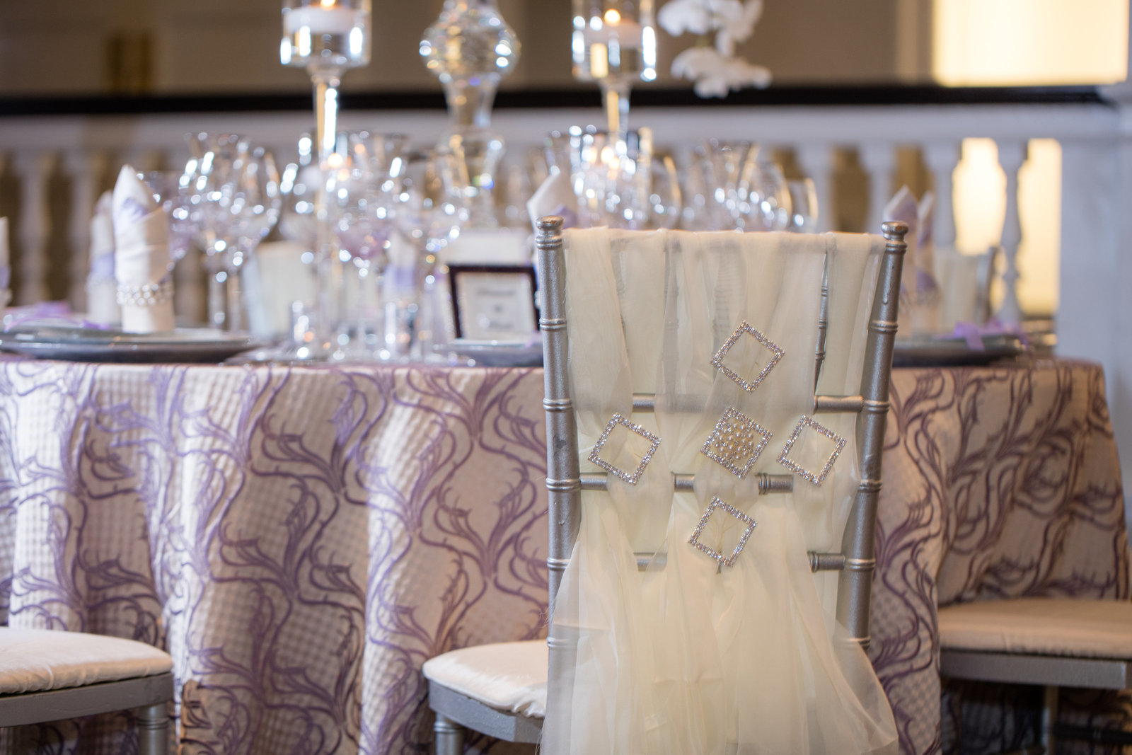 wedding tablescape and seating bling, glass, crystal, unique linens
