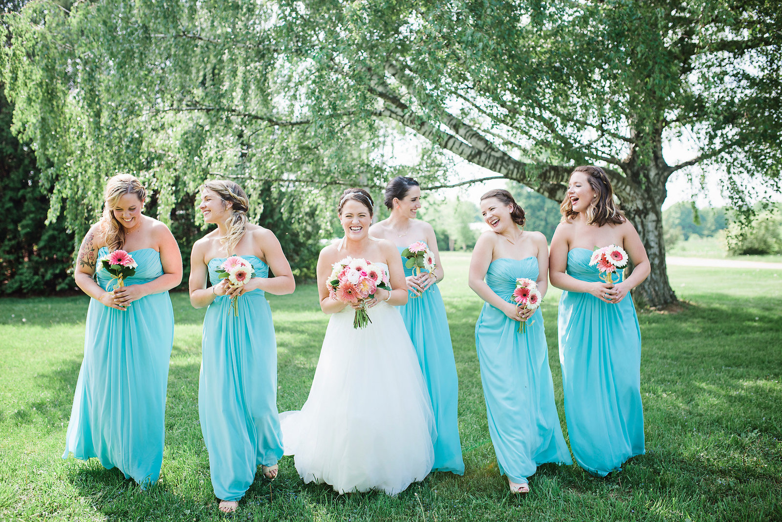 bridesmaids in turquoise, pink bouquets Vermont weddings