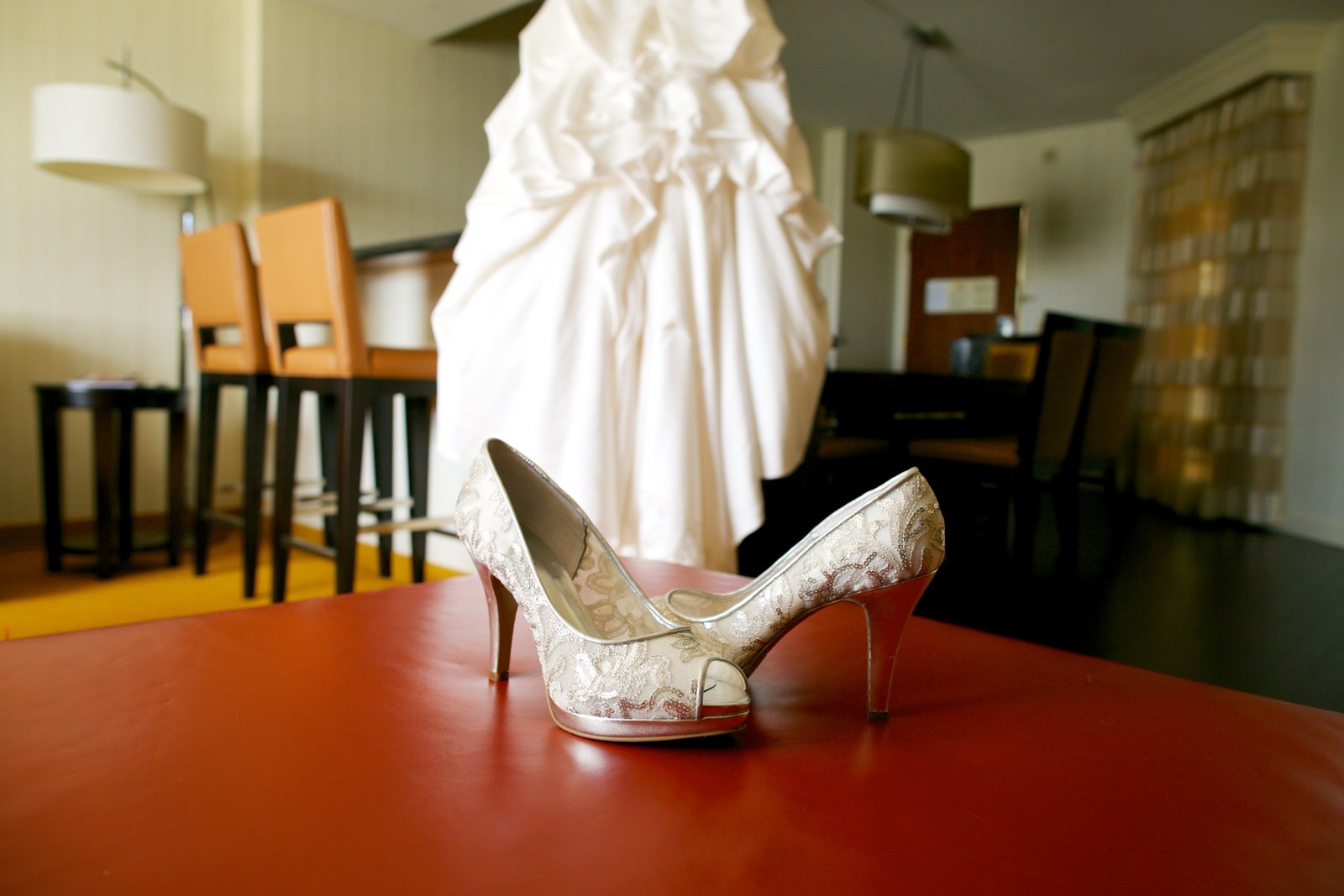 Wedding shoes and dress