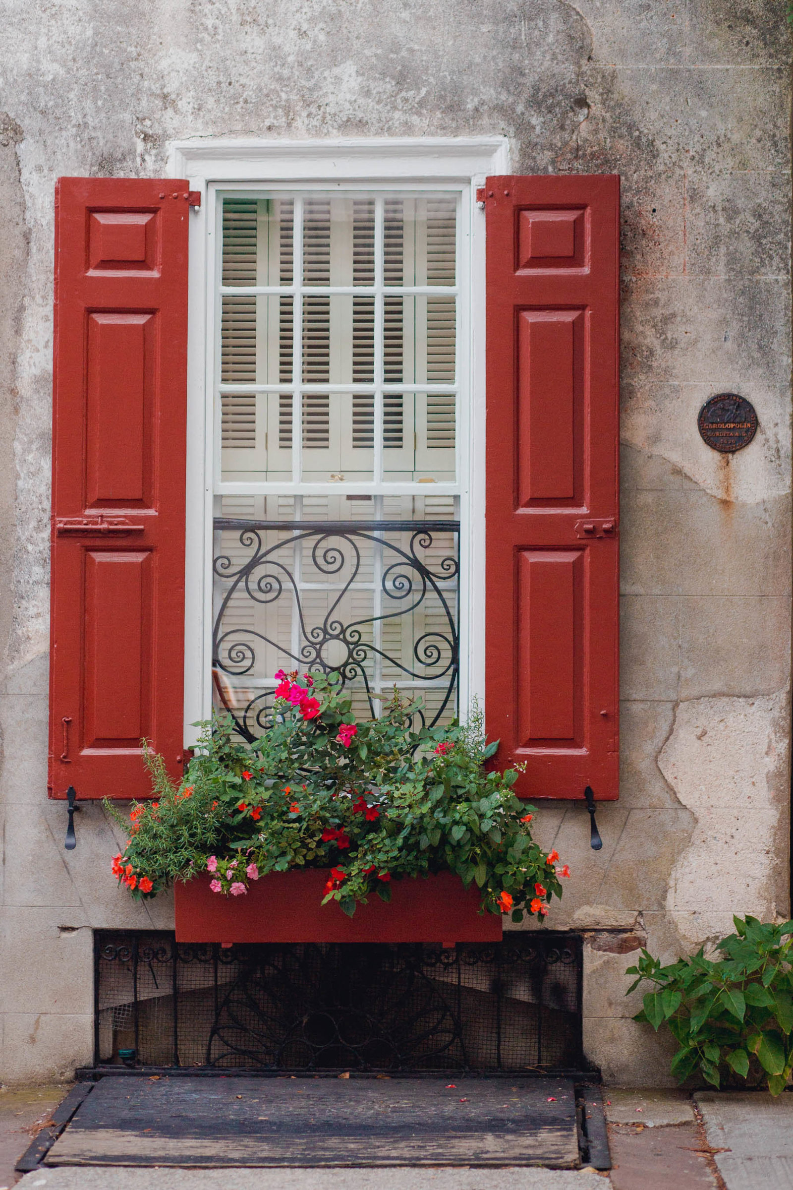 French Quarter window and flower box, Charleston Wedding Photography.