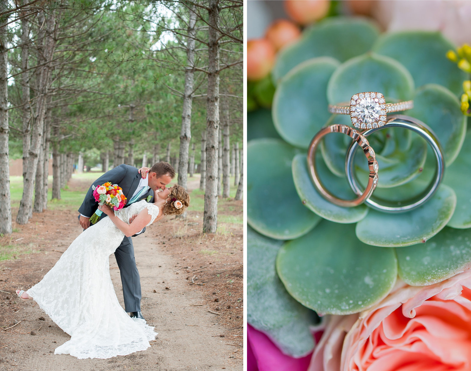 Succulent wedding florals and rose gold rings. Modern weddings photography kris kandel