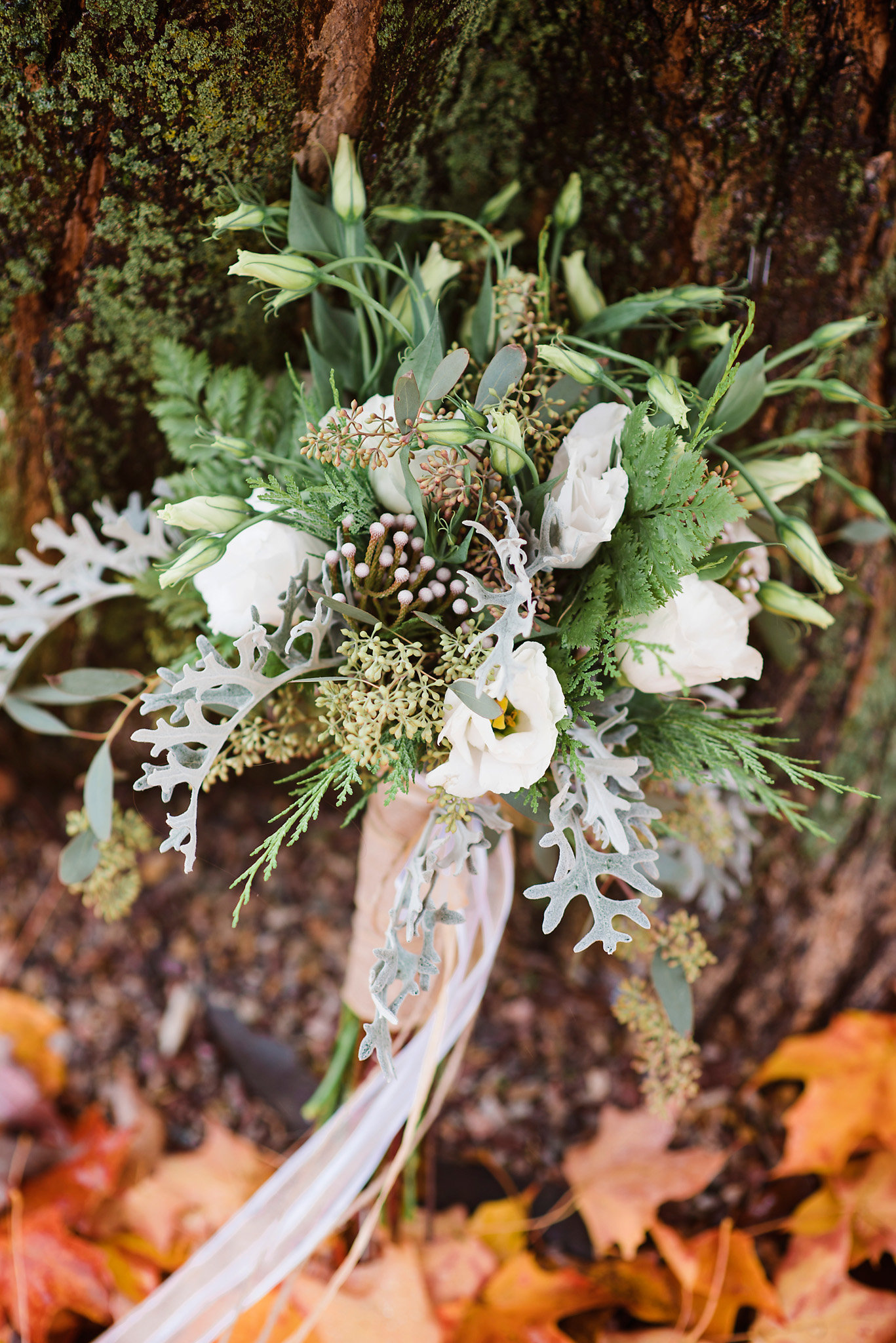 green and white wedding bouquet, fall wedding bouquet, rainy wedding day