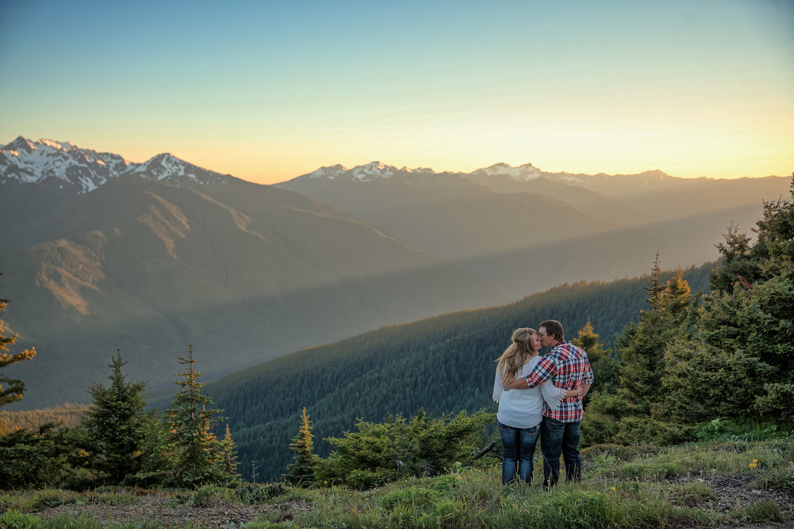 Courtney & Timothy Engngments hurricane ridge sunset