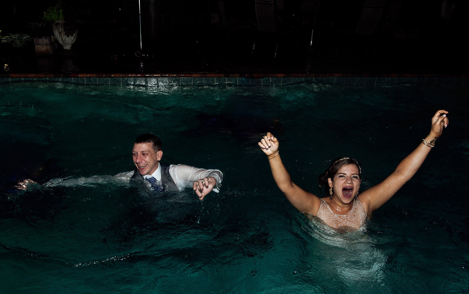 bride goes swimming