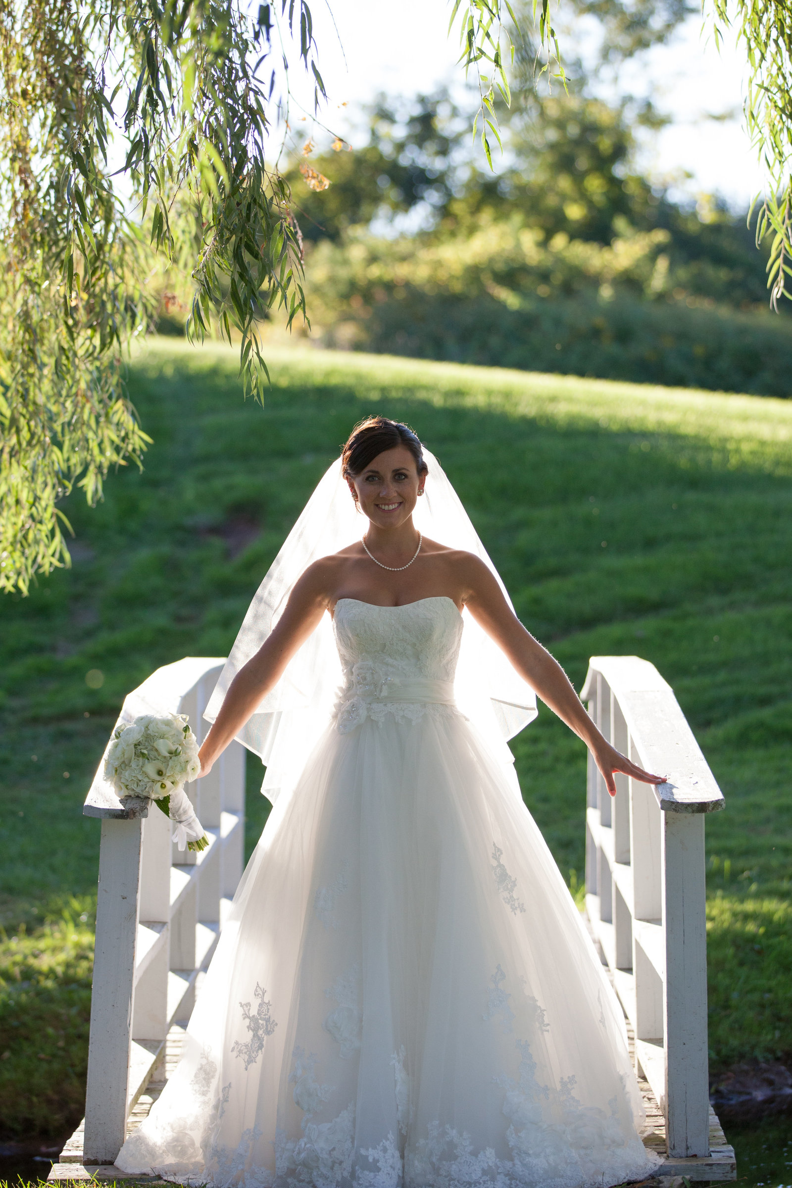 bride on a bridge