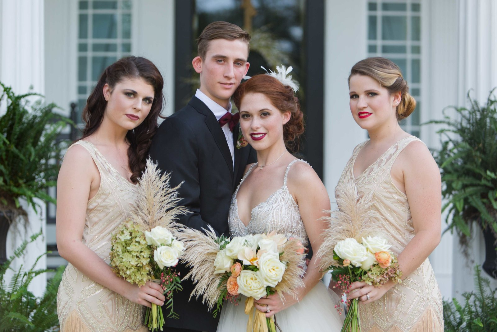 Great Gatsby wedding party at Parterre mansion