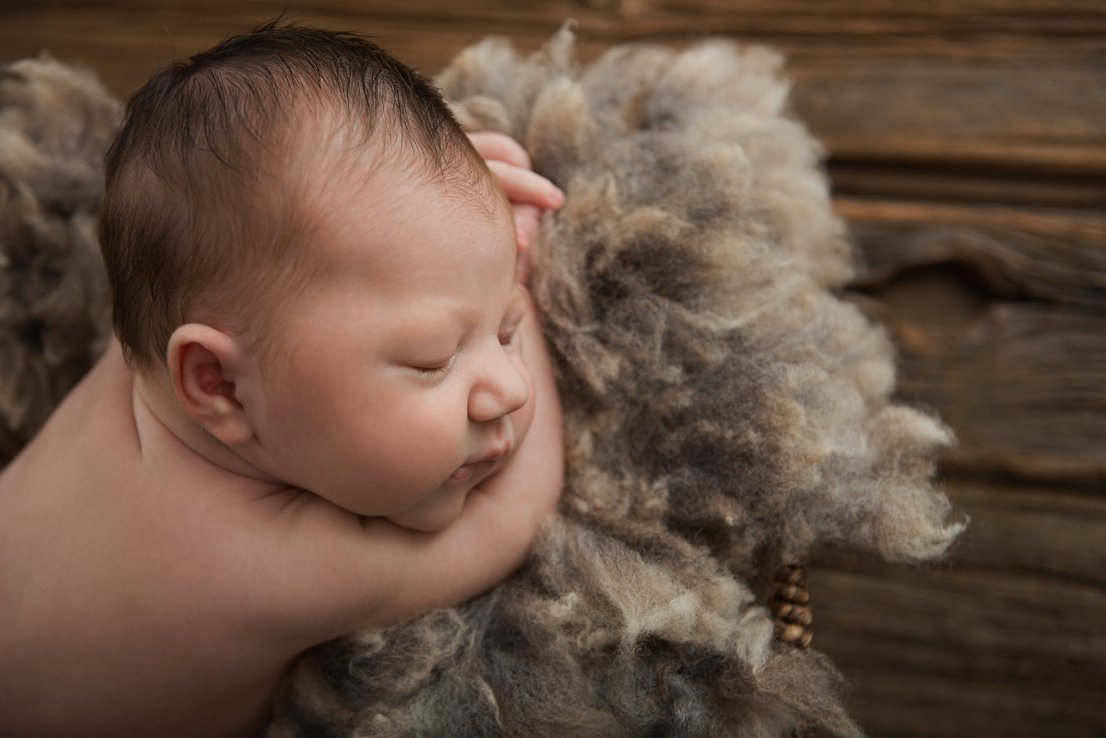 Hudson Valley newborn baby photos sleeping in fluffy wool lined basket prop on a rustic reclaimed barn wood floor by professional photographer in Cornwall NY photography studio